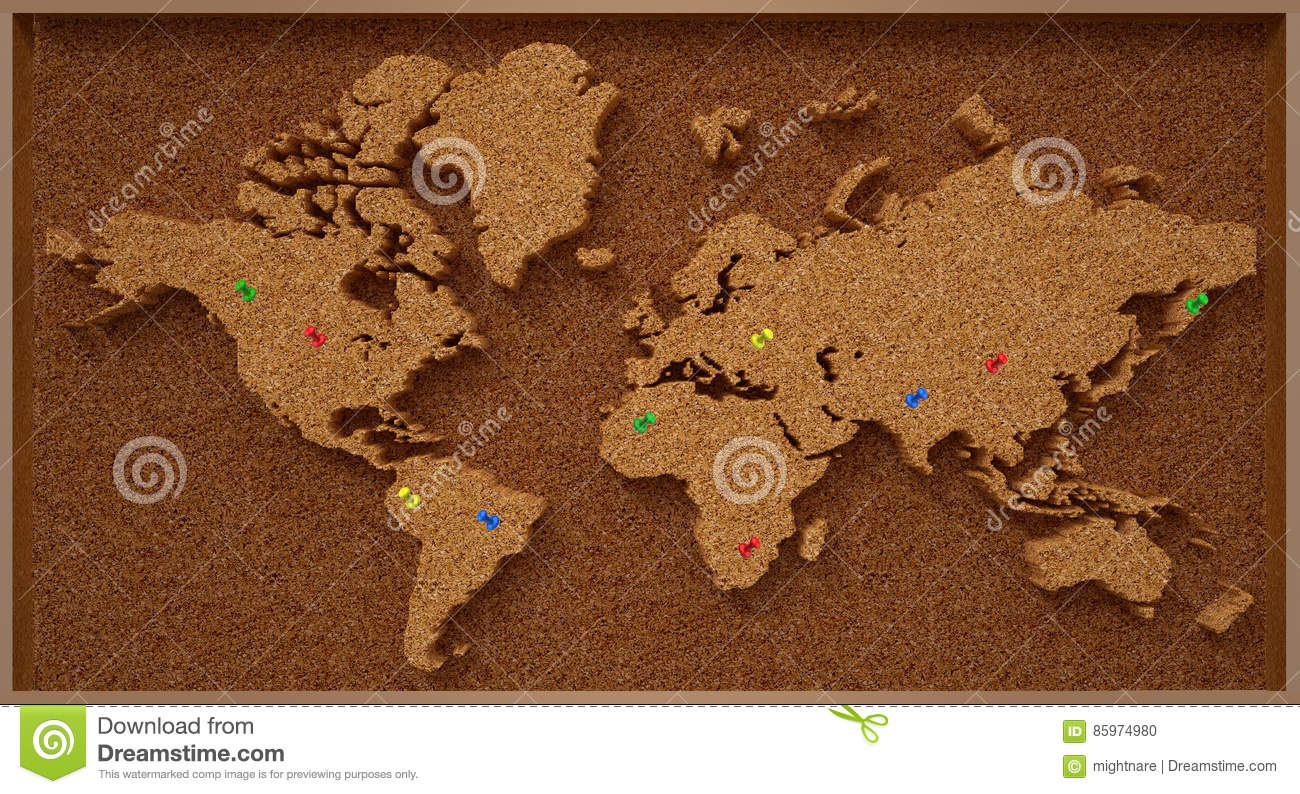 Cork Board World Map Stock Photo Image - Map of the united states cork board