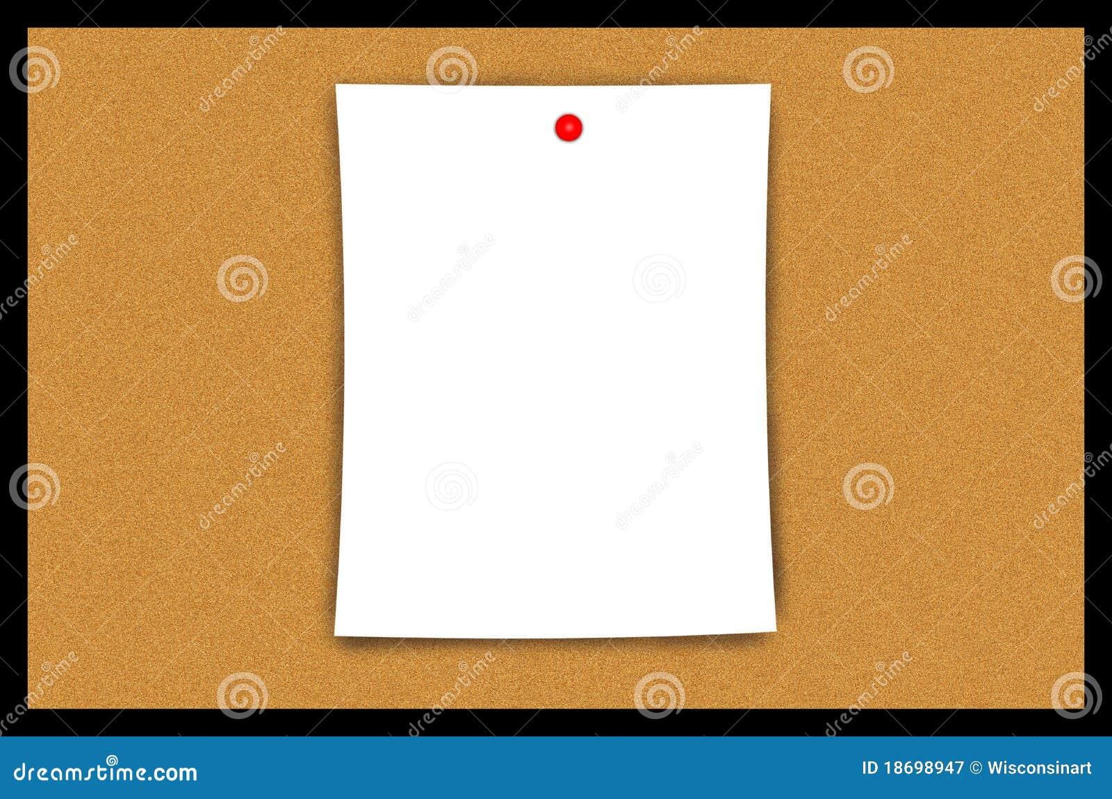 Cork Bulletin Board Blank Paper Sheet Illustration Royalty Free Stock Photography Image 18698947