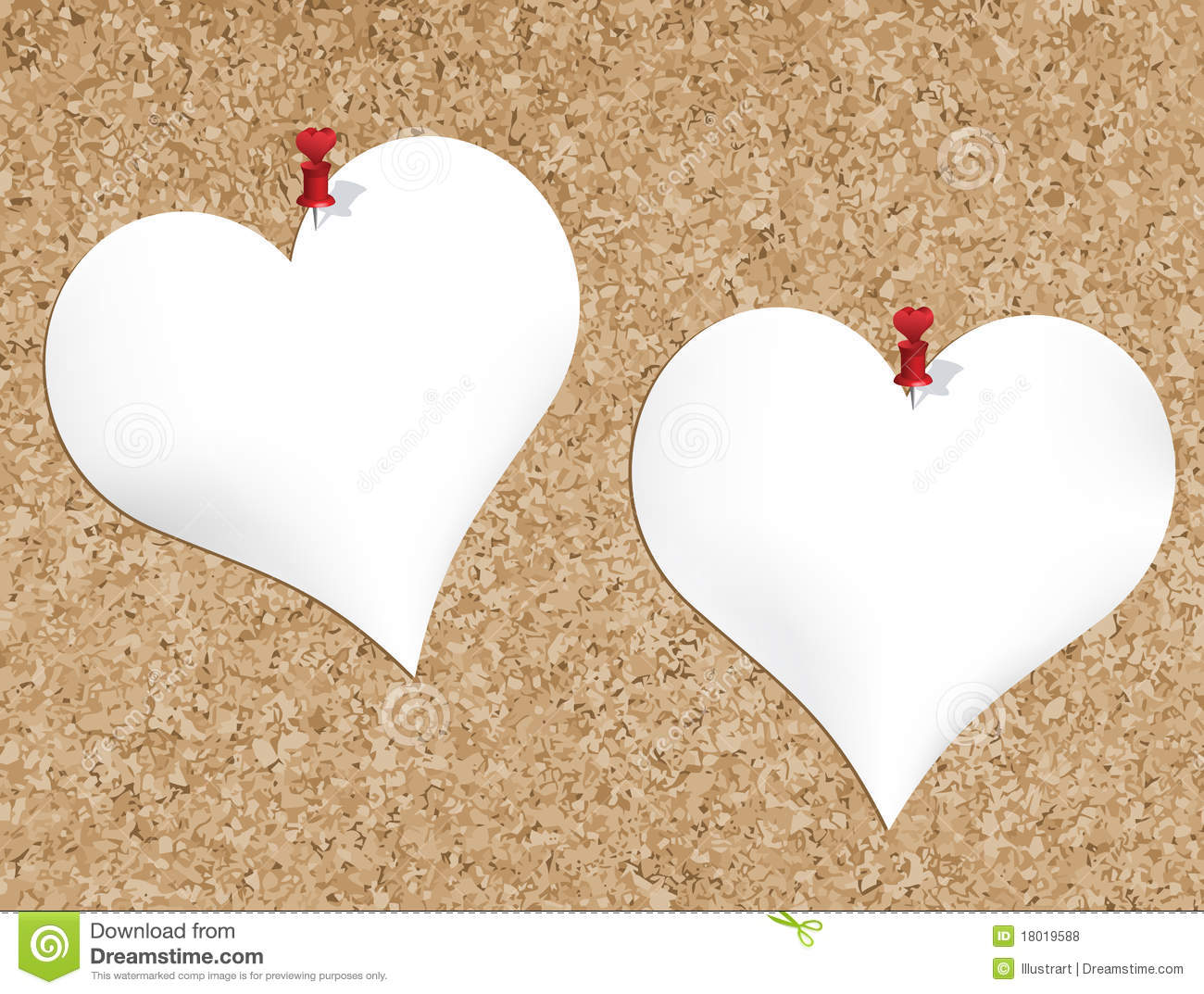 Cork bulletin board with heart shaped notepads stock for Heart shaped bulletin board