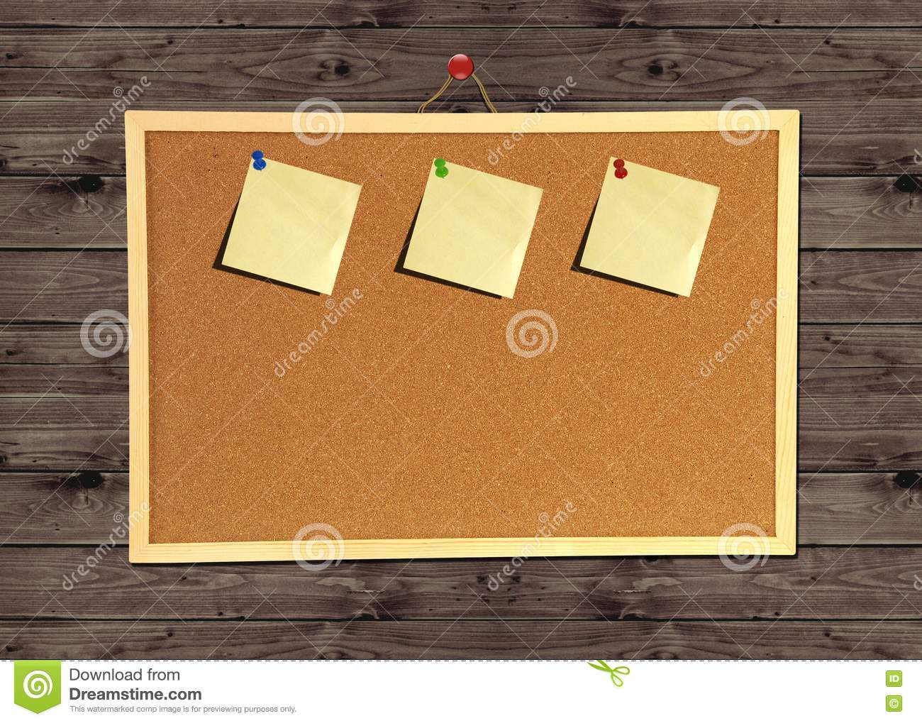 Cork bulletin board on wood wall stock photography image for How to make a bulletin board wall