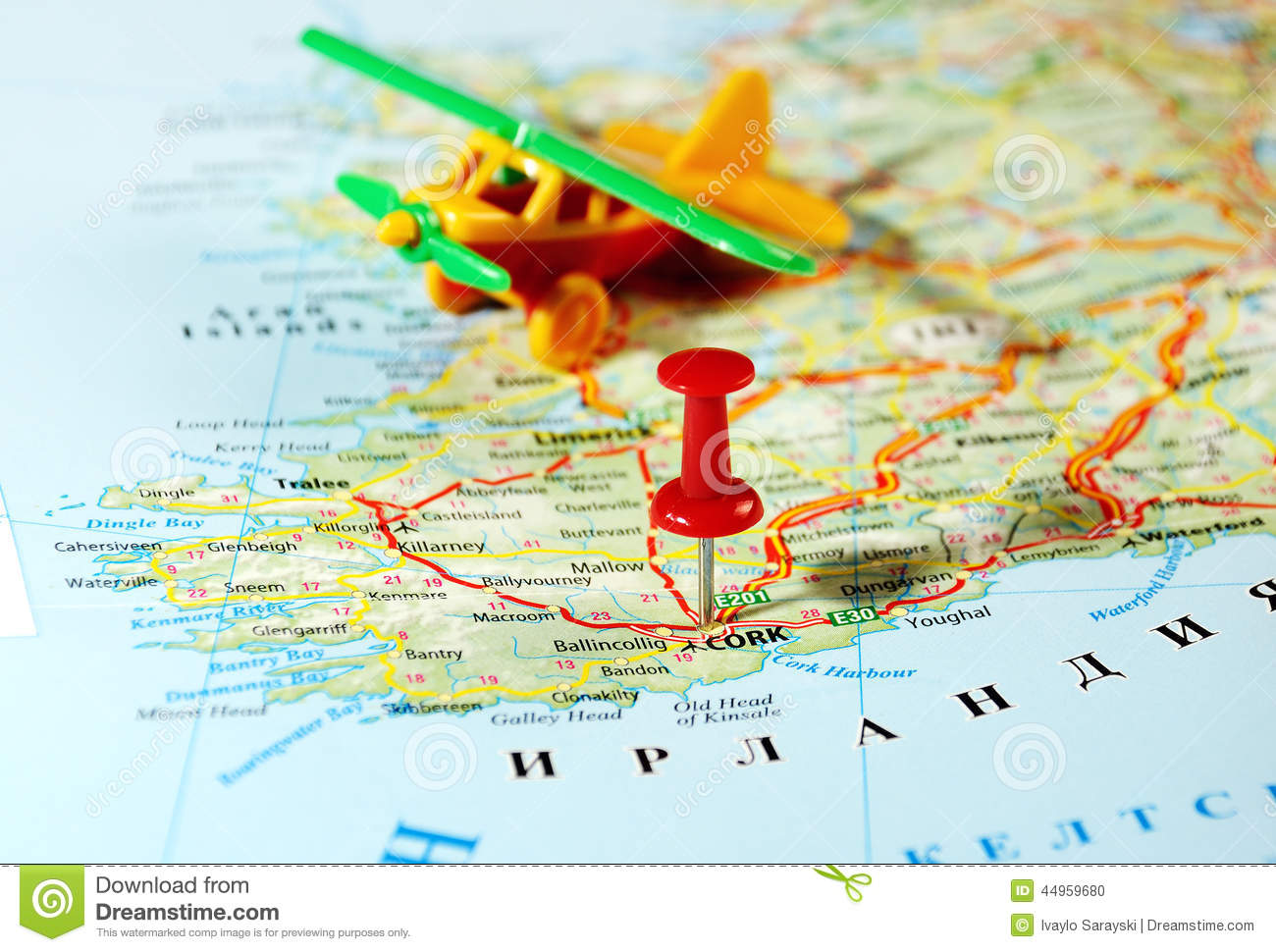 Cork Ireland United Kingdom Map Airplane Photo Image – Travel Map of Ireland