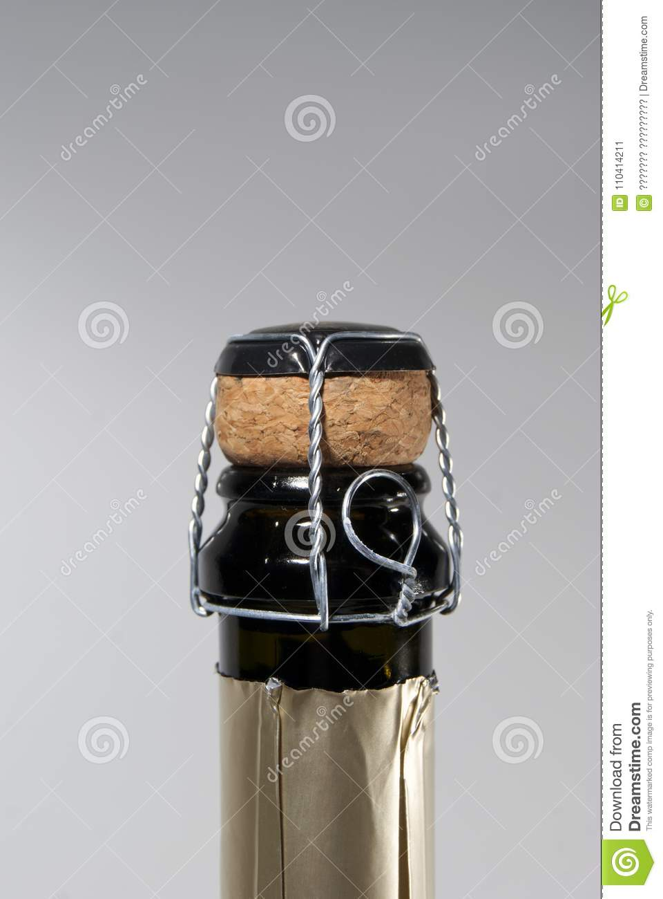 Cork and muselet closure atop a bottle of sparkling wine, unopened