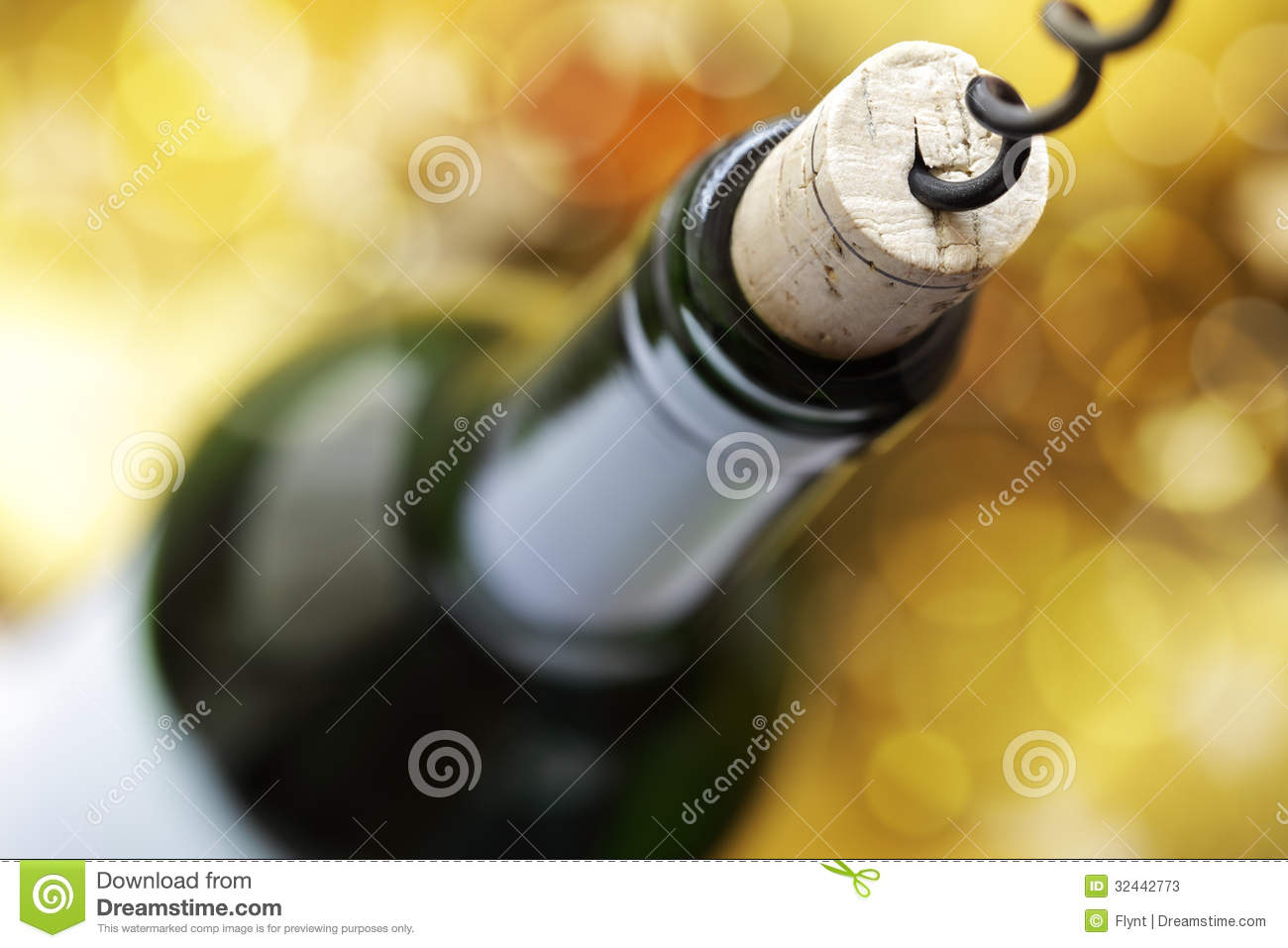 Cork and wine bottle