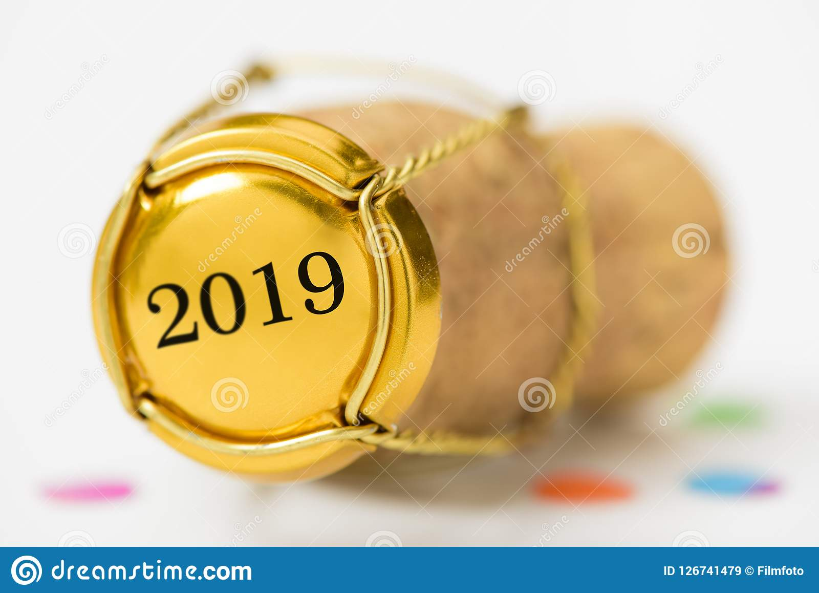 Cork stopper of champagne with new year`s date 2019