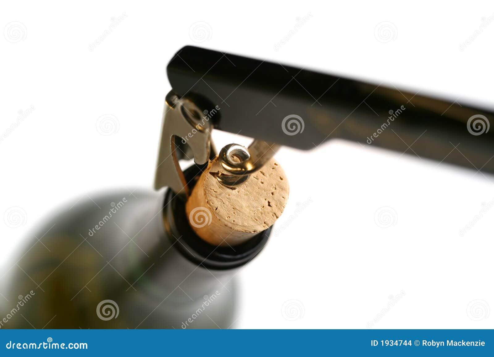 Corkscrew no frasco de vinho