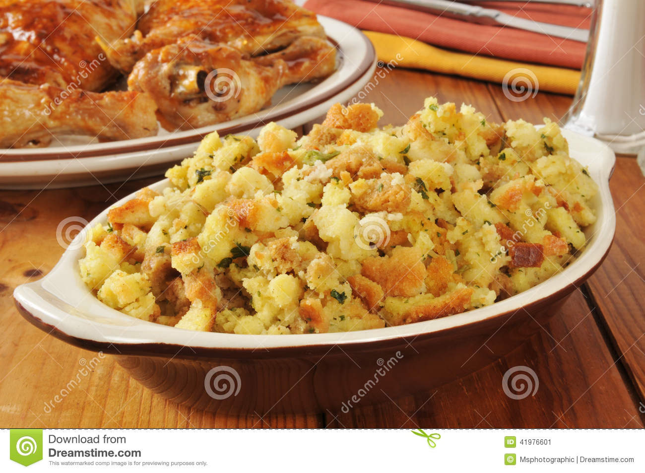 Corn Bread Stuffing With Chicken Stock Image - Image of