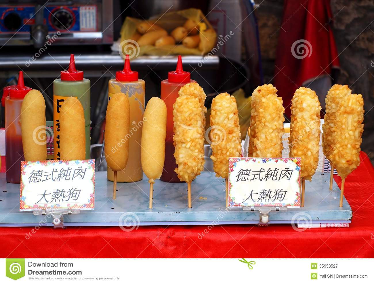 Corn Dogs On Sticks Royalty Free Stock Photography - Image: 35958527