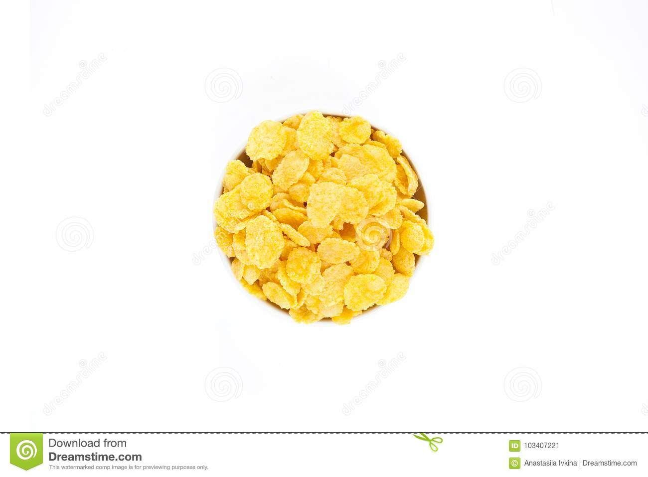 Corn Flakes in the Bowl Isolated Top View