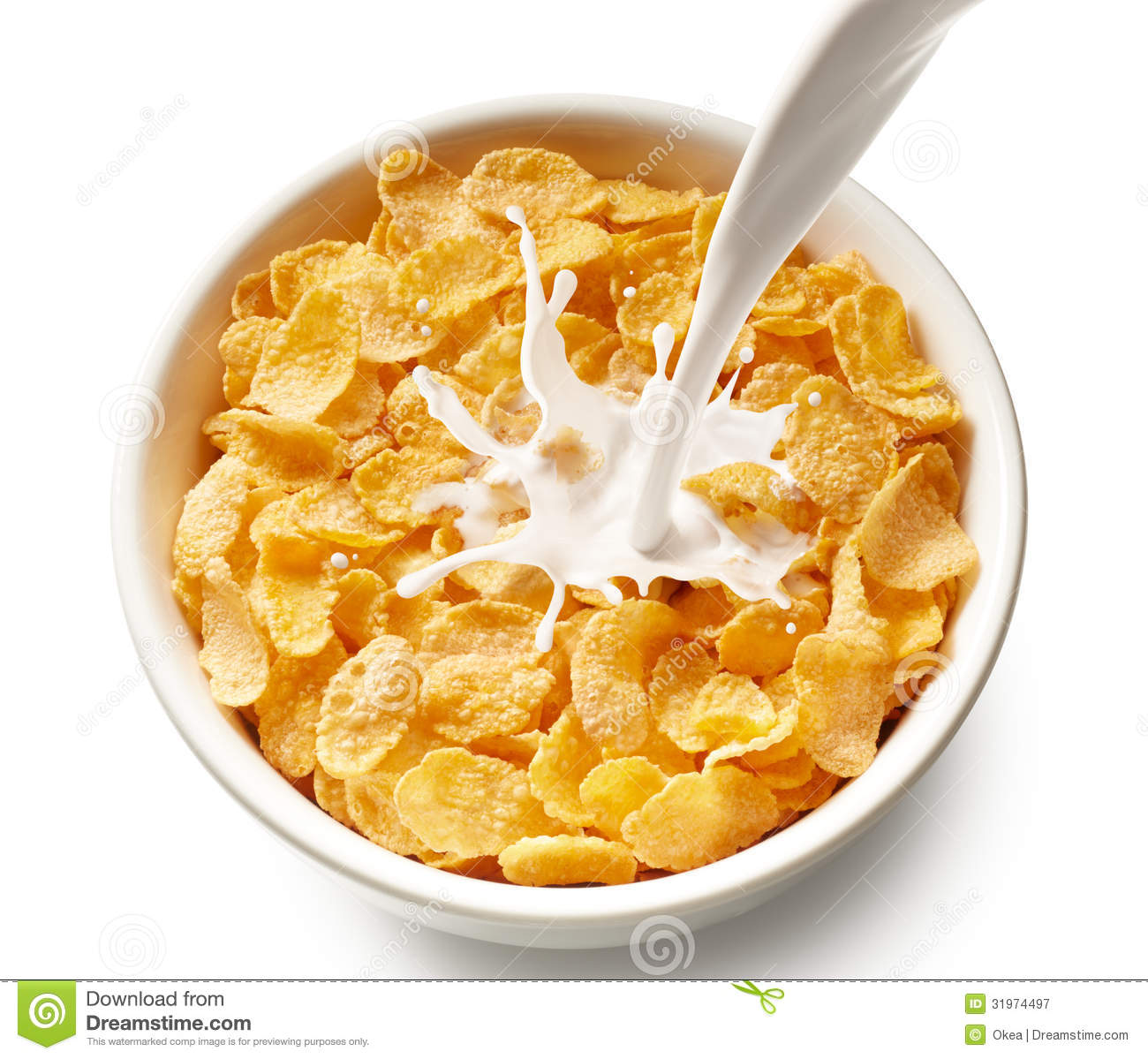 Bowl Of Cornflakes And Milk Corn flakes with milk