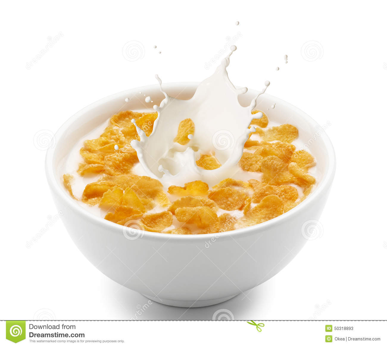 corn flakes with milk splash stock photo image 50318893
