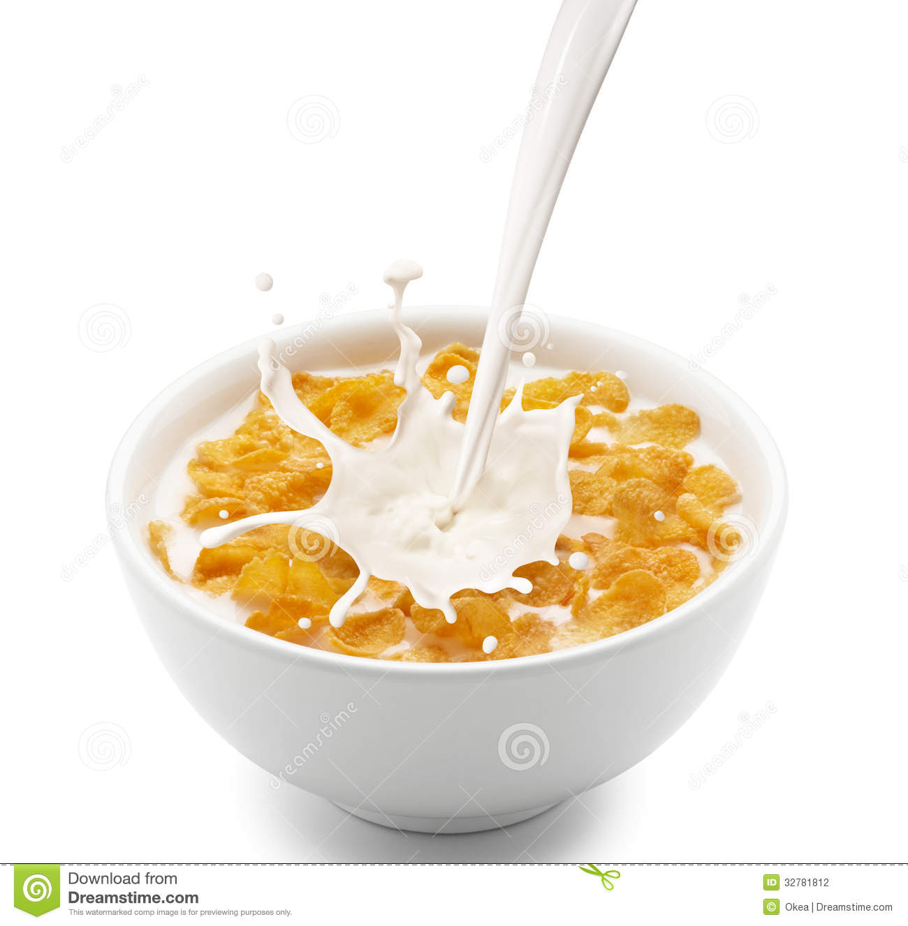 Bowl Of Cornflakes And Milk Corn Flakes Wit...