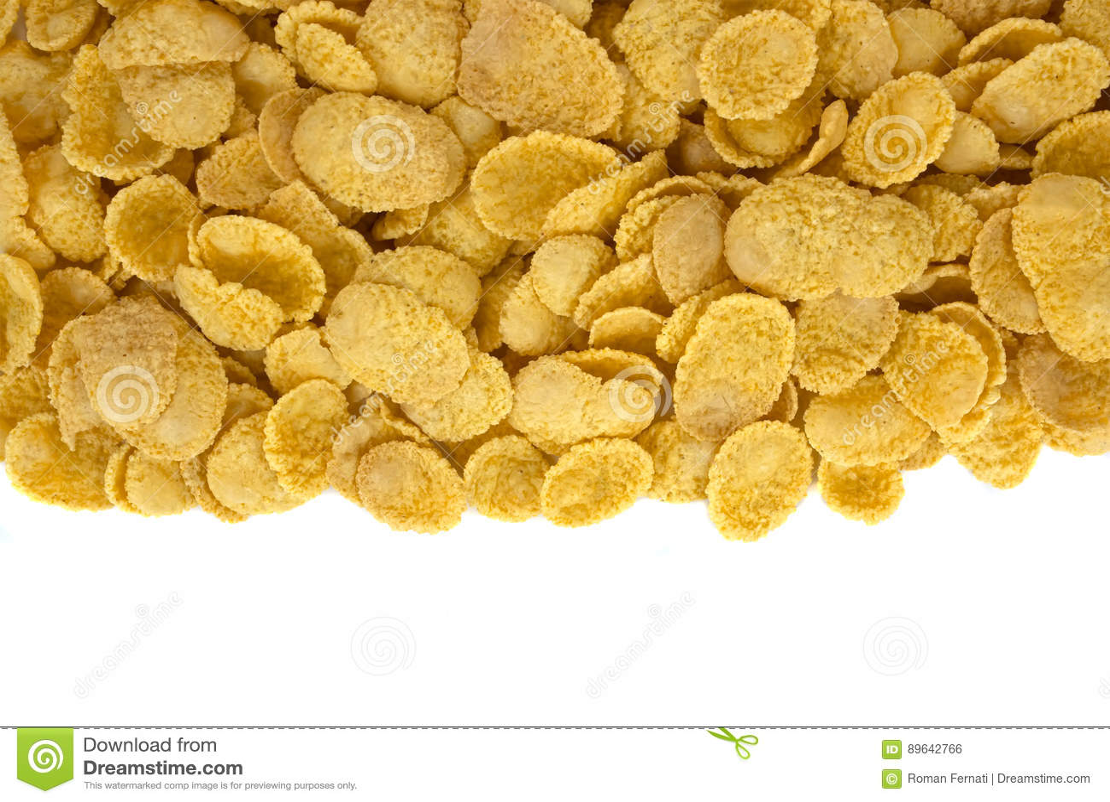 Corn flakes top view on white