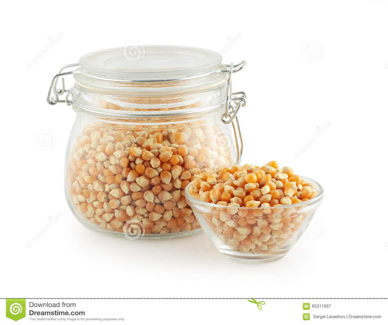 Glass kitchen utensils - Corn Grain In Glass Kitchen Utensils Stock Photo