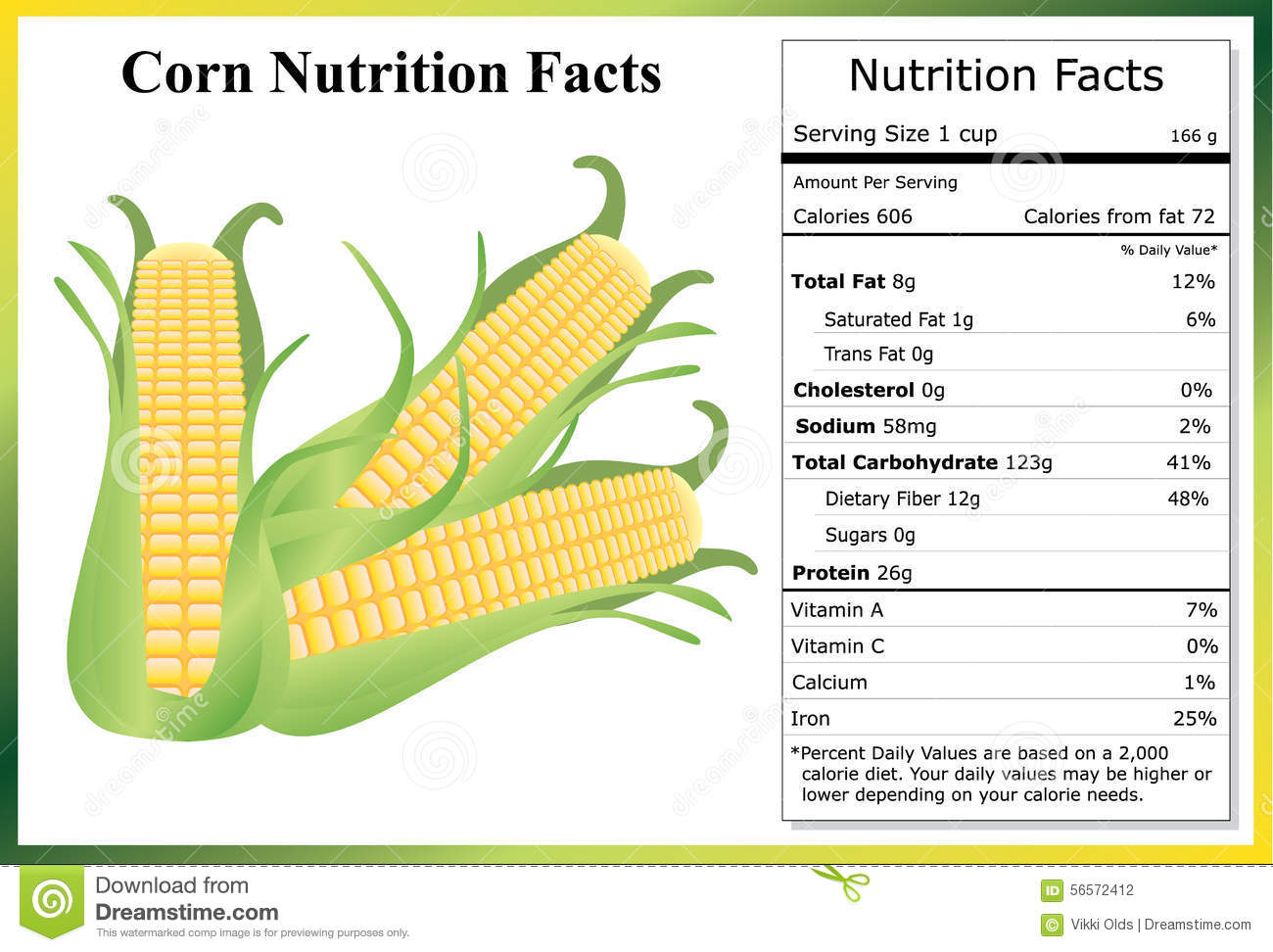 corn nutrition facts stock vector image 56572412 ear of corn clipart black and white Corn Plant Clip Art