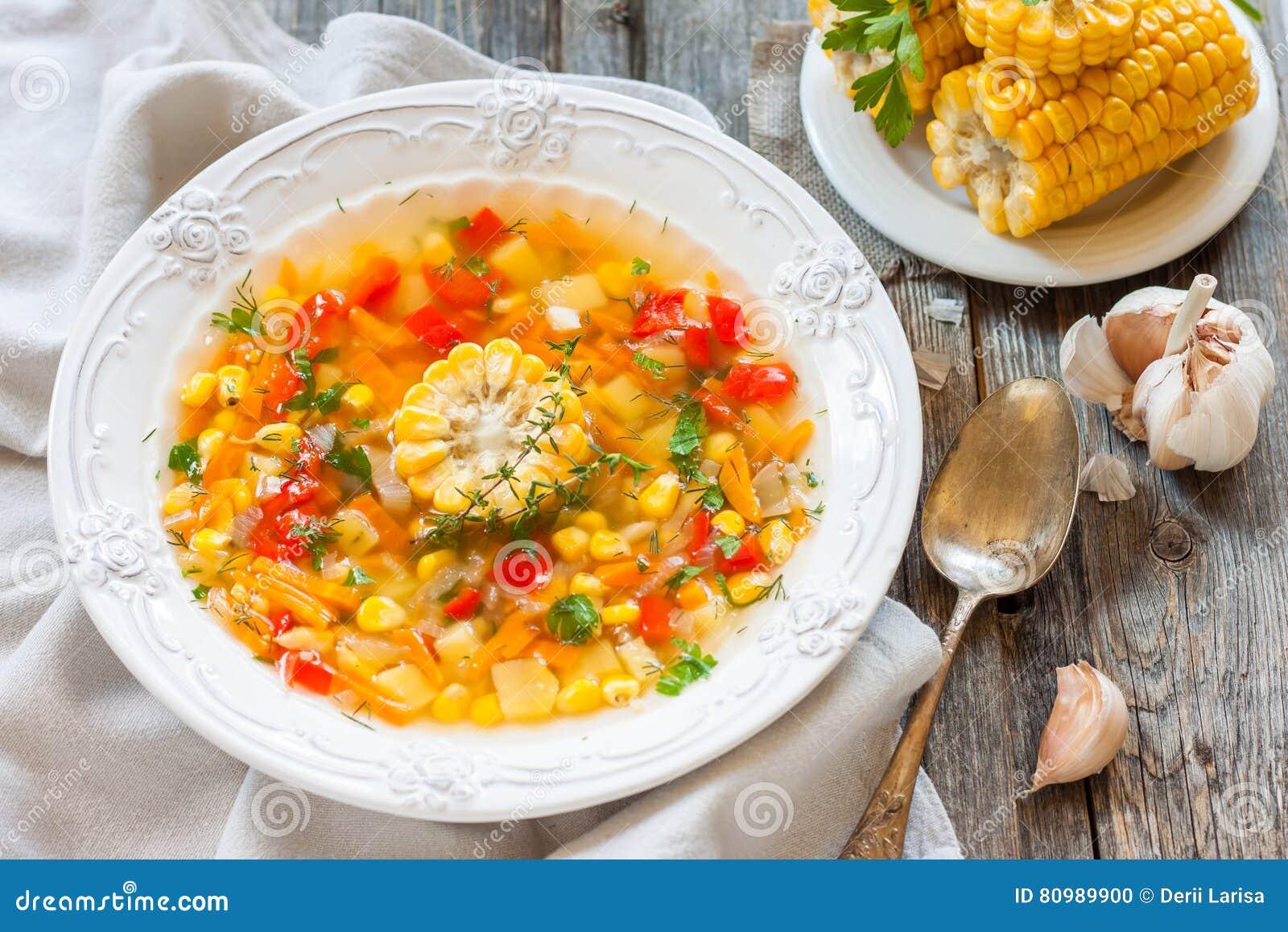 Corn soup corn soup with vegetables