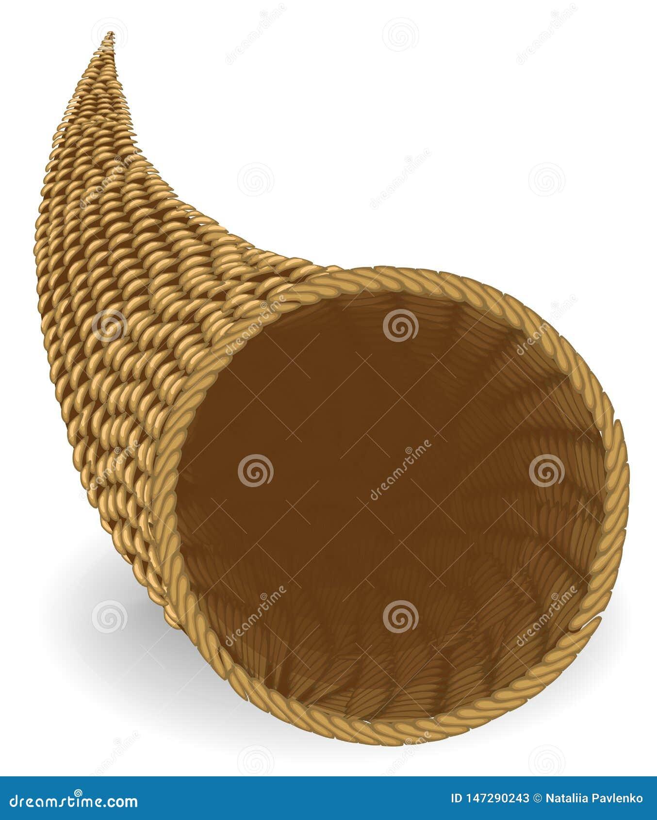 Corne d abondance Ssel de capacité pour conserver des nourritures, différentes choses le symbole de la richesse Illustration de v