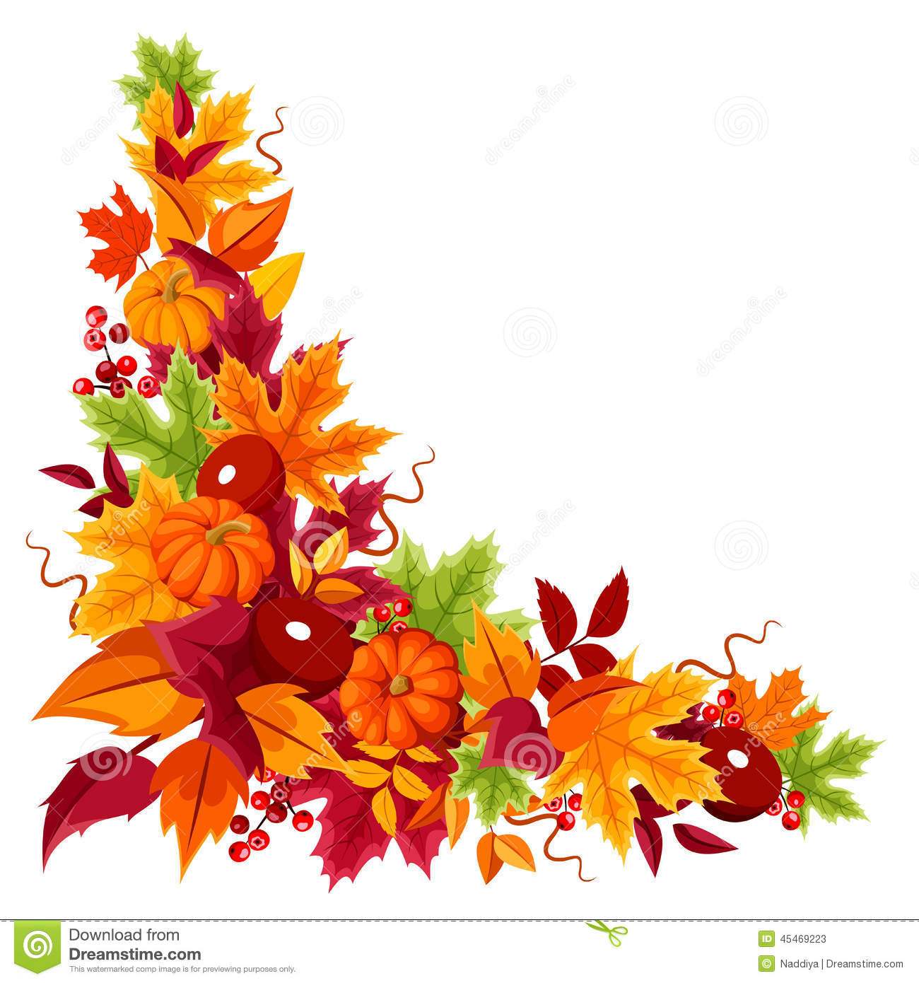 Corner Background With Pumpkins And Colorful Autumn Leaves