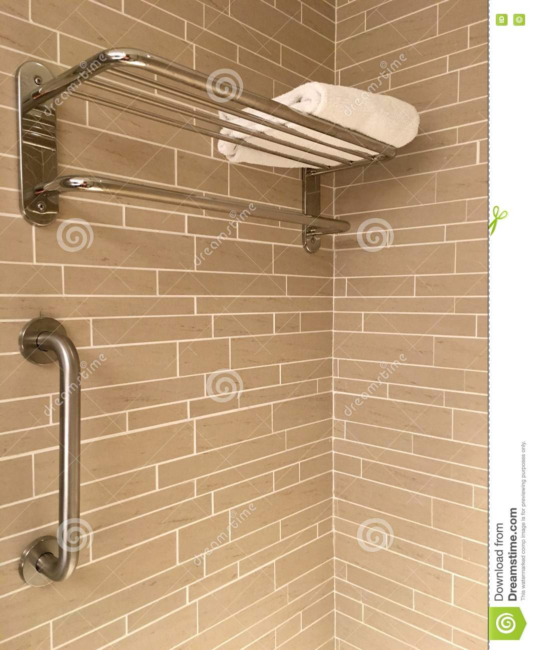 Corner Of A Bath Tub Section With Stainless Steel Towel Rack And ...