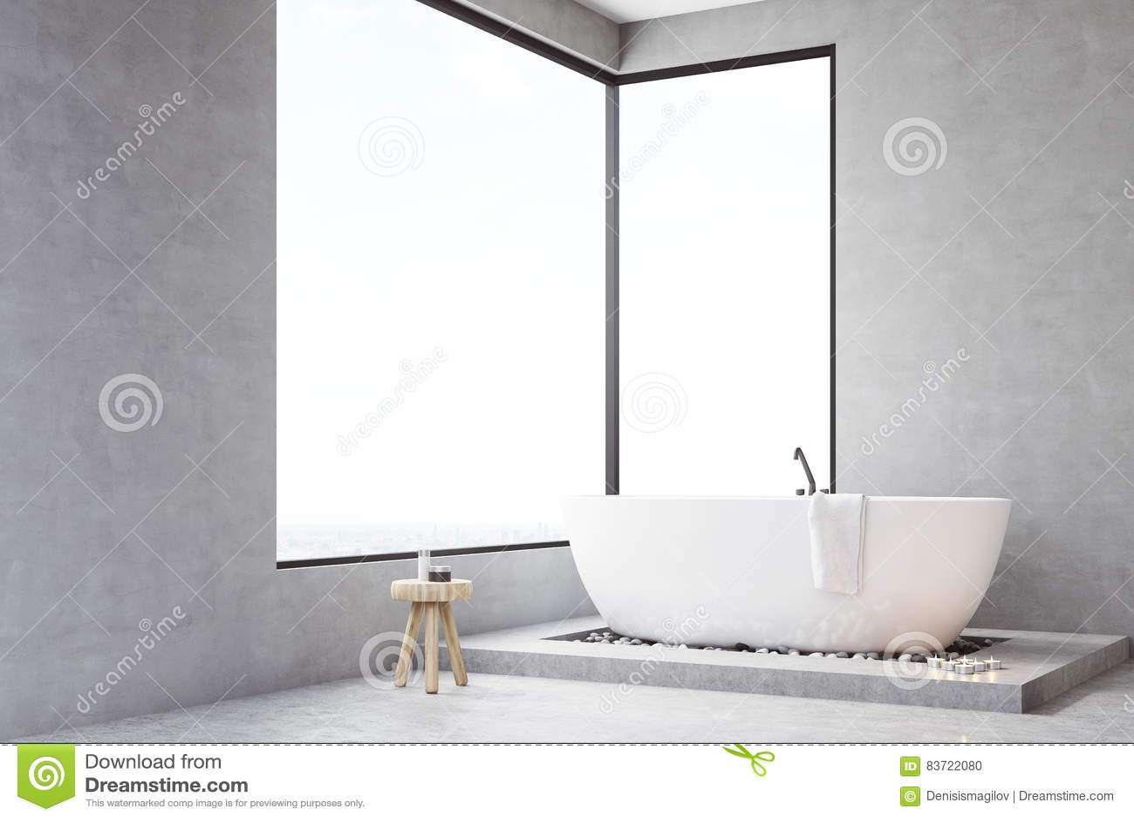 Corner Of Bathroom With Rectangular Window Stock Illustration