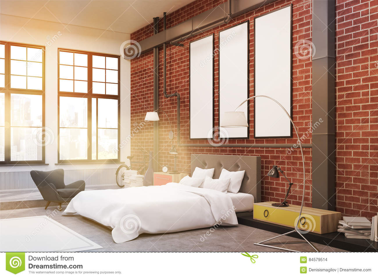 Corner Of Bedroom: Brick Walls And Posters, Toned Stock ...