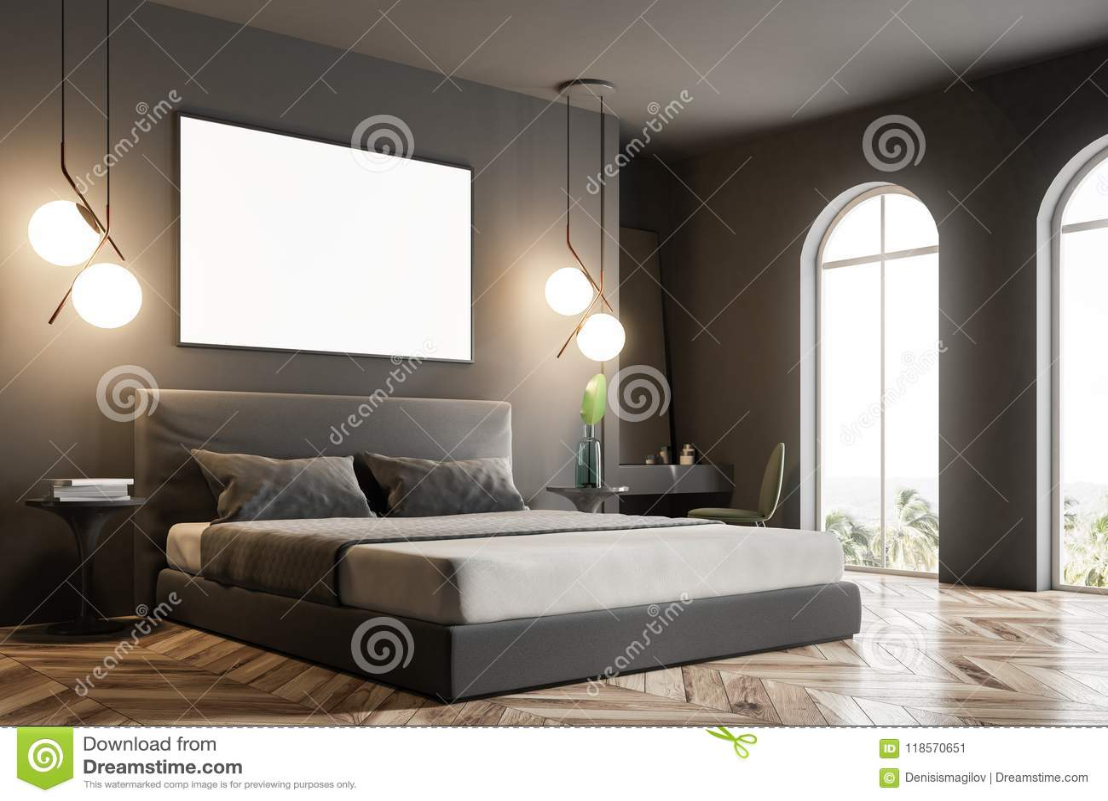 Gray Bedroom Corner Mock Up Poster Mirror Stock Illustration