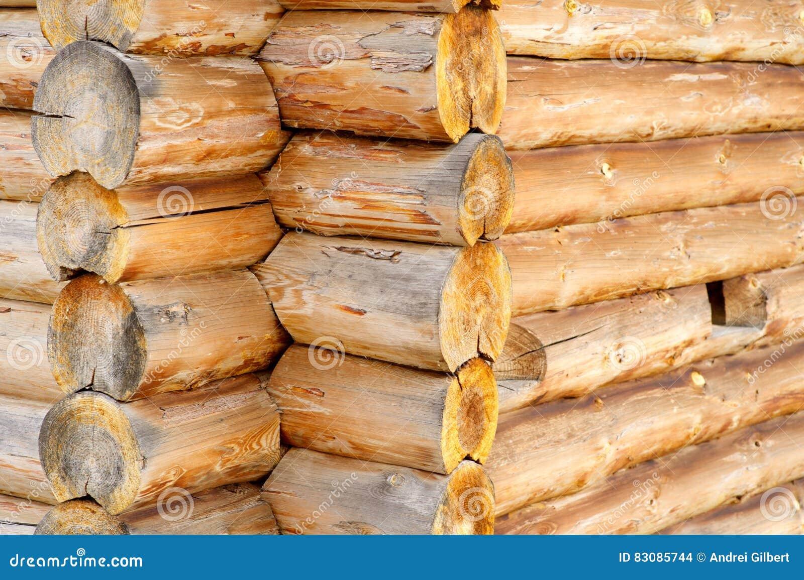 Corner of blockhouse from logs closeup
