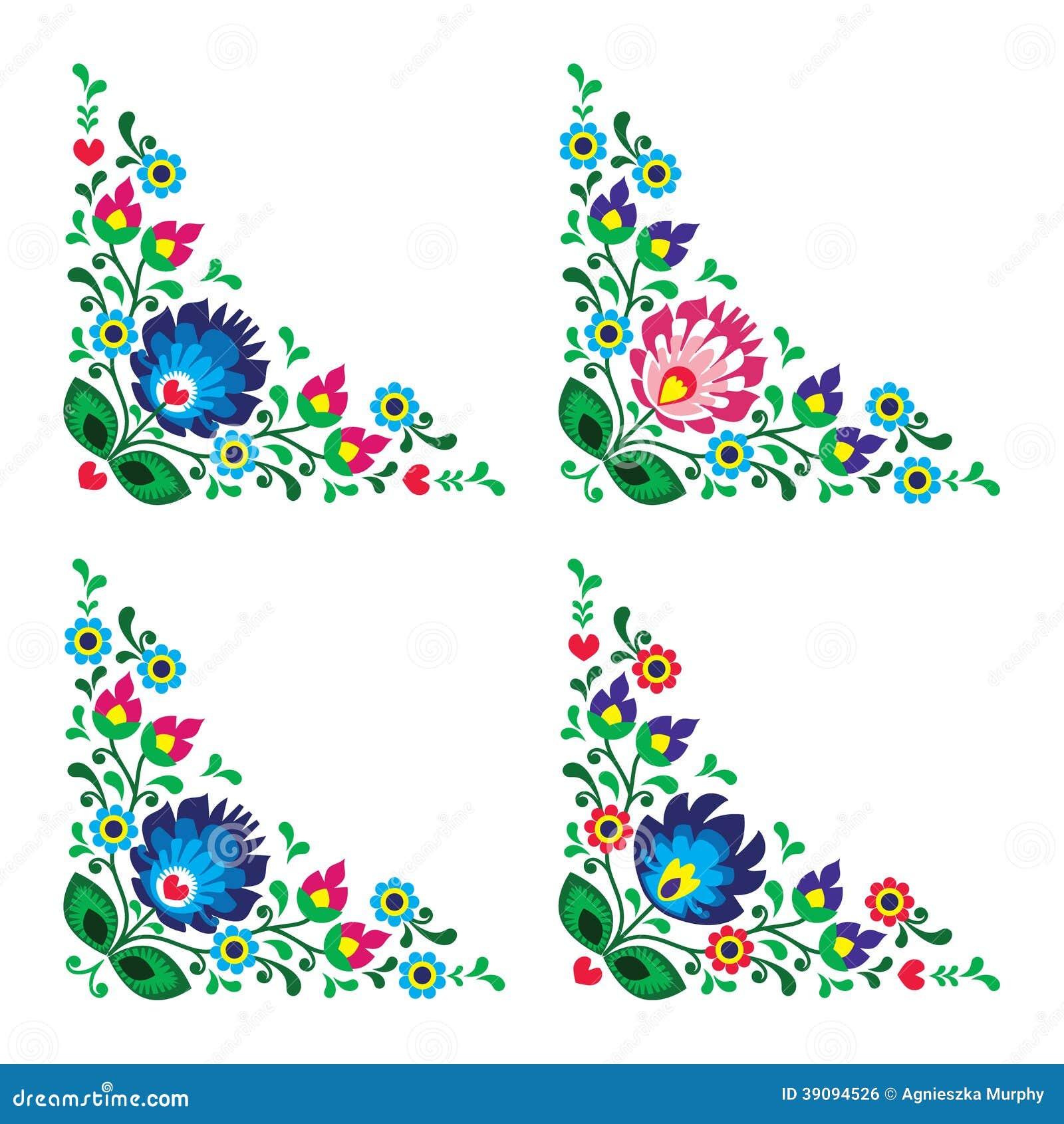 Corner border Polish floral folk pattern