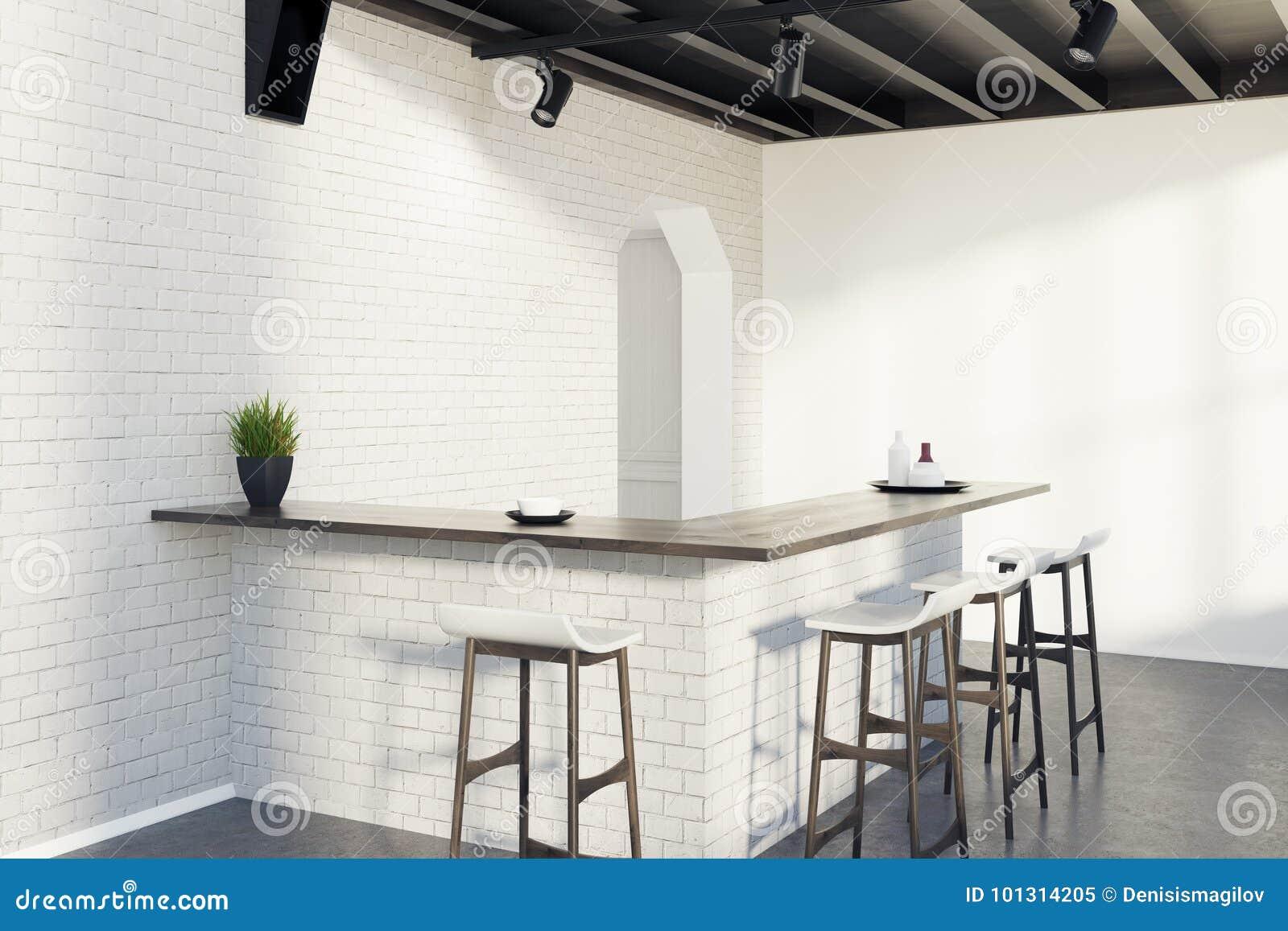 Brick Kitchen Bar, Stools And A Door, Gray Corner Stock ...