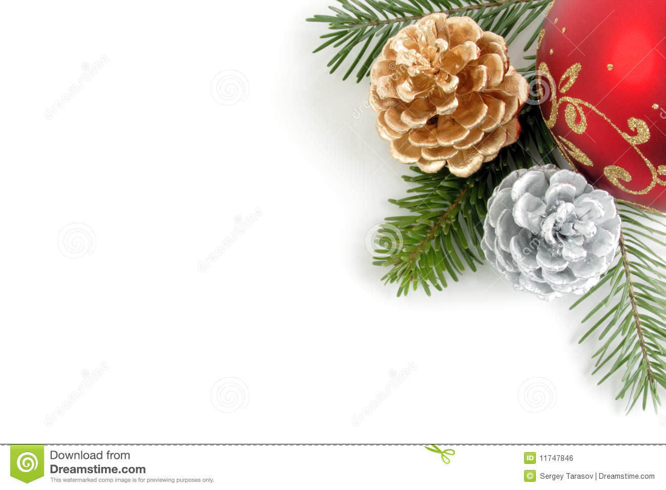 Corner combination of christmas decorations stock photo