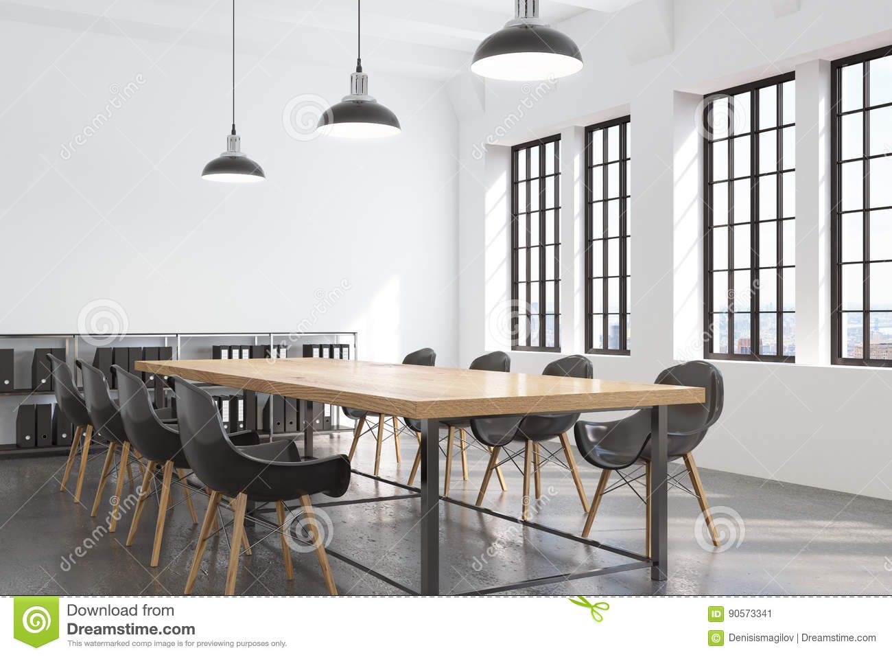 Corner Of A Conference Room With Many Windows Stock Illustration - Corner conference table
