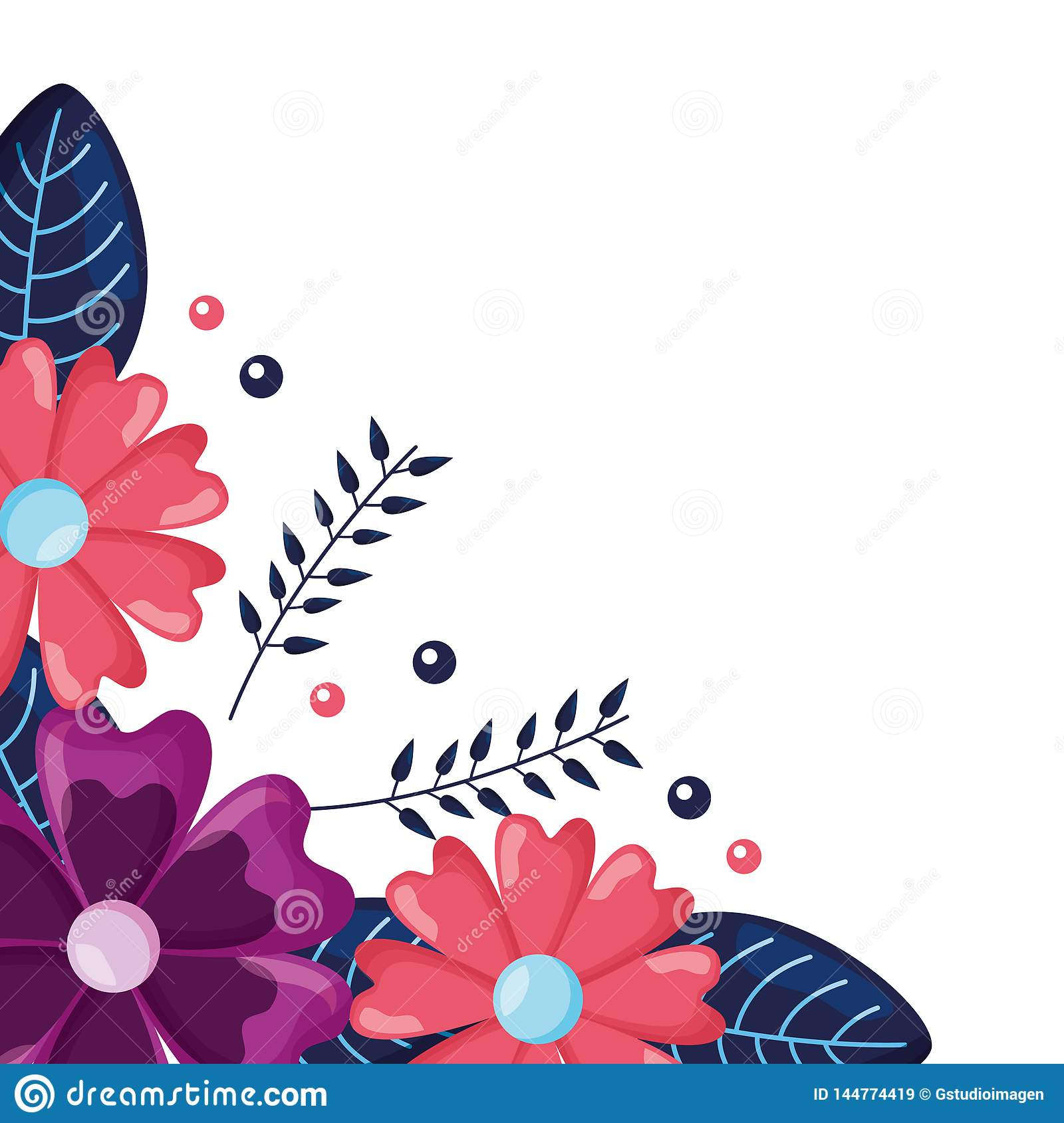 corner decoration flowers stock vector illustration of isolated 144774419 dreamstime com