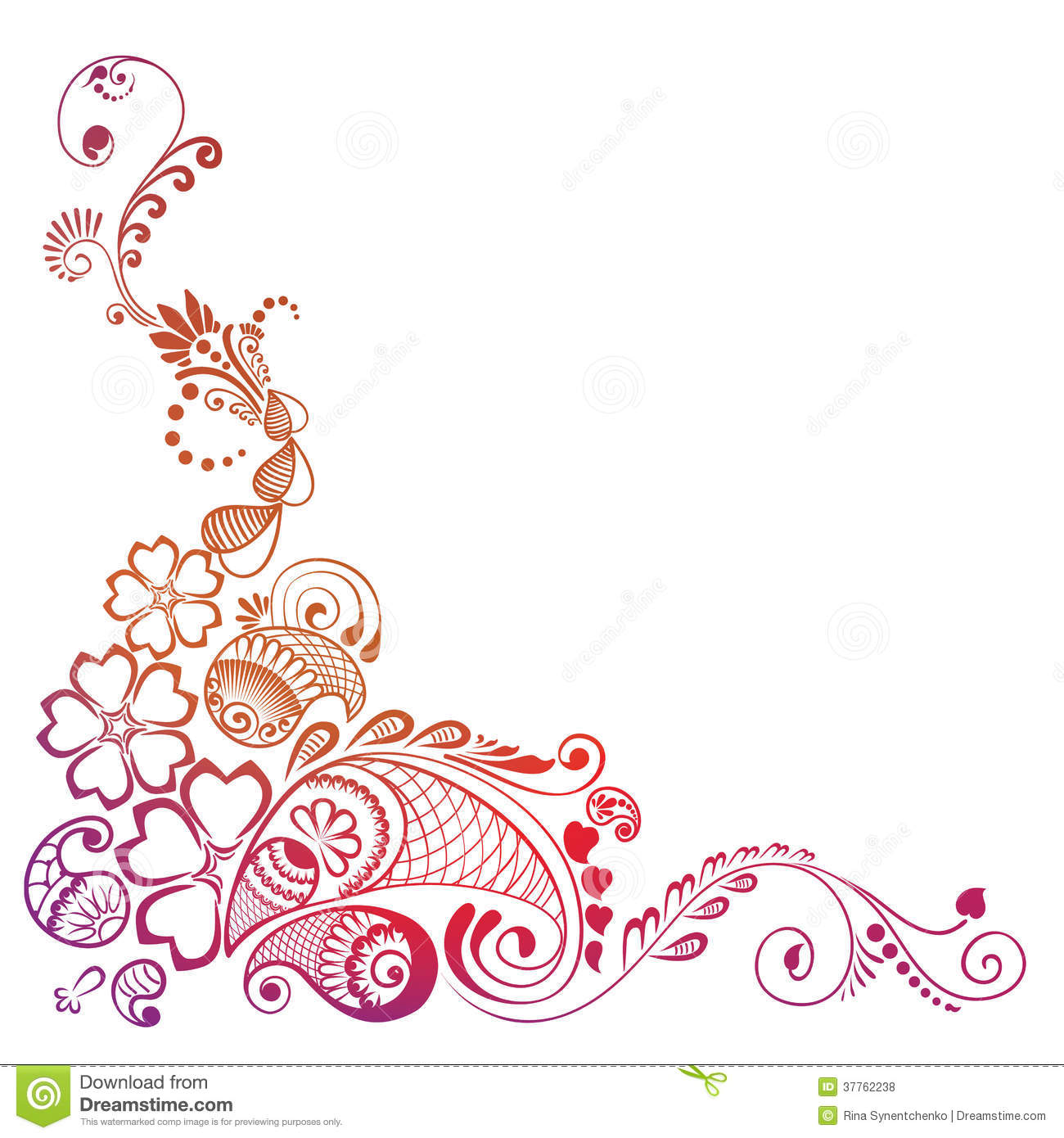 Corner Element Ornate Decorated Mehndi Stock Vector