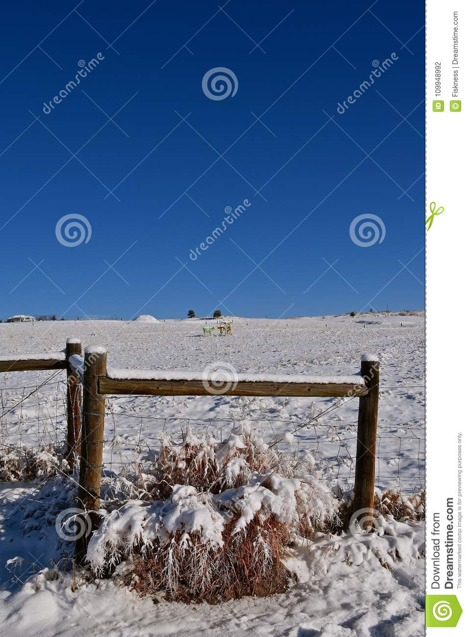 Corner Fence Posts And Wire Covered With Snow Stock Photo - Image of ...