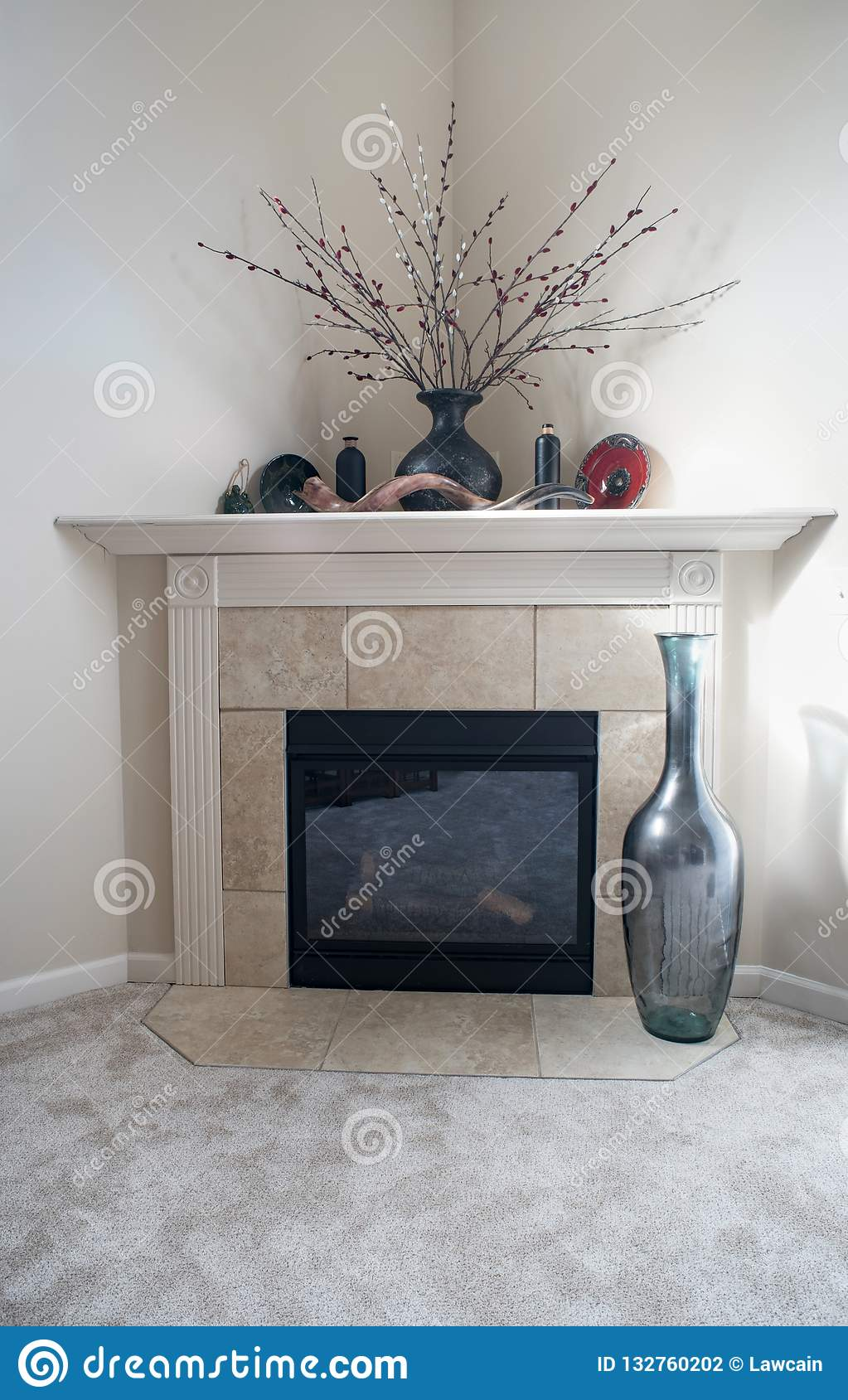 Corner Fireplace With Bottle Decor Editorial Photography