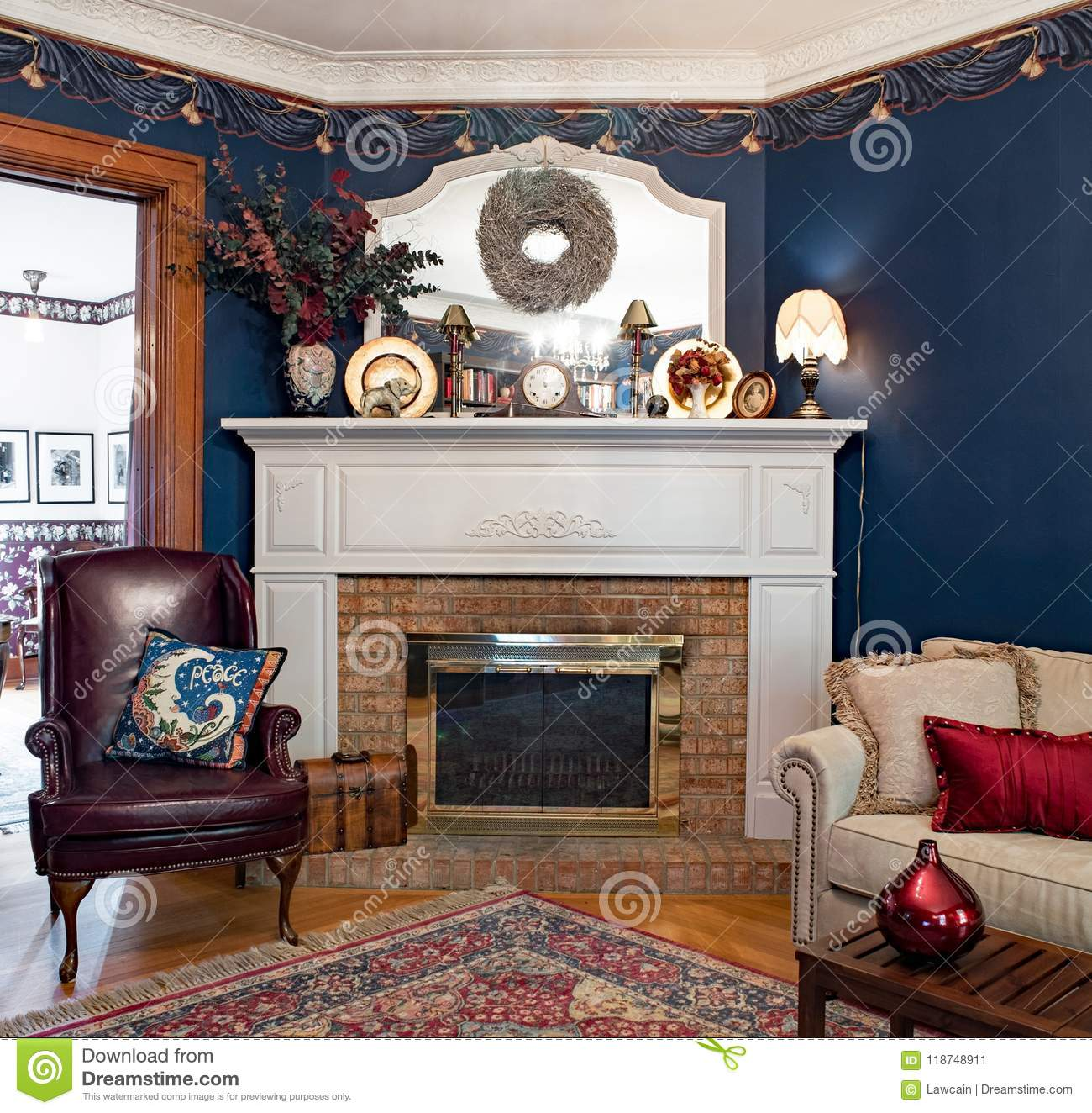 Admirable Corner Fireplace With Mirror Editorial Photo Image Of Home Interior And Landscaping Transignezvosmurscom