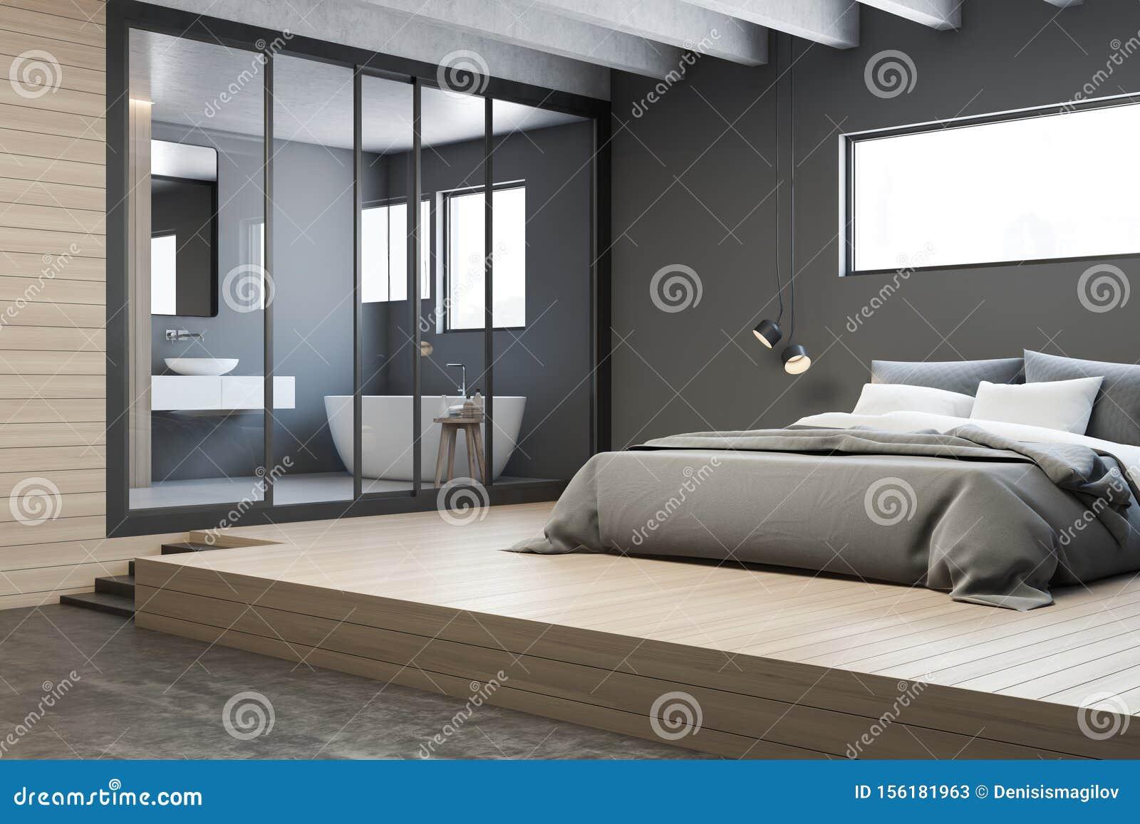 Corner Of Gray Master Bedroom With Bathroom Stock Illustration Illustration Of Furnished Remodel 156181963