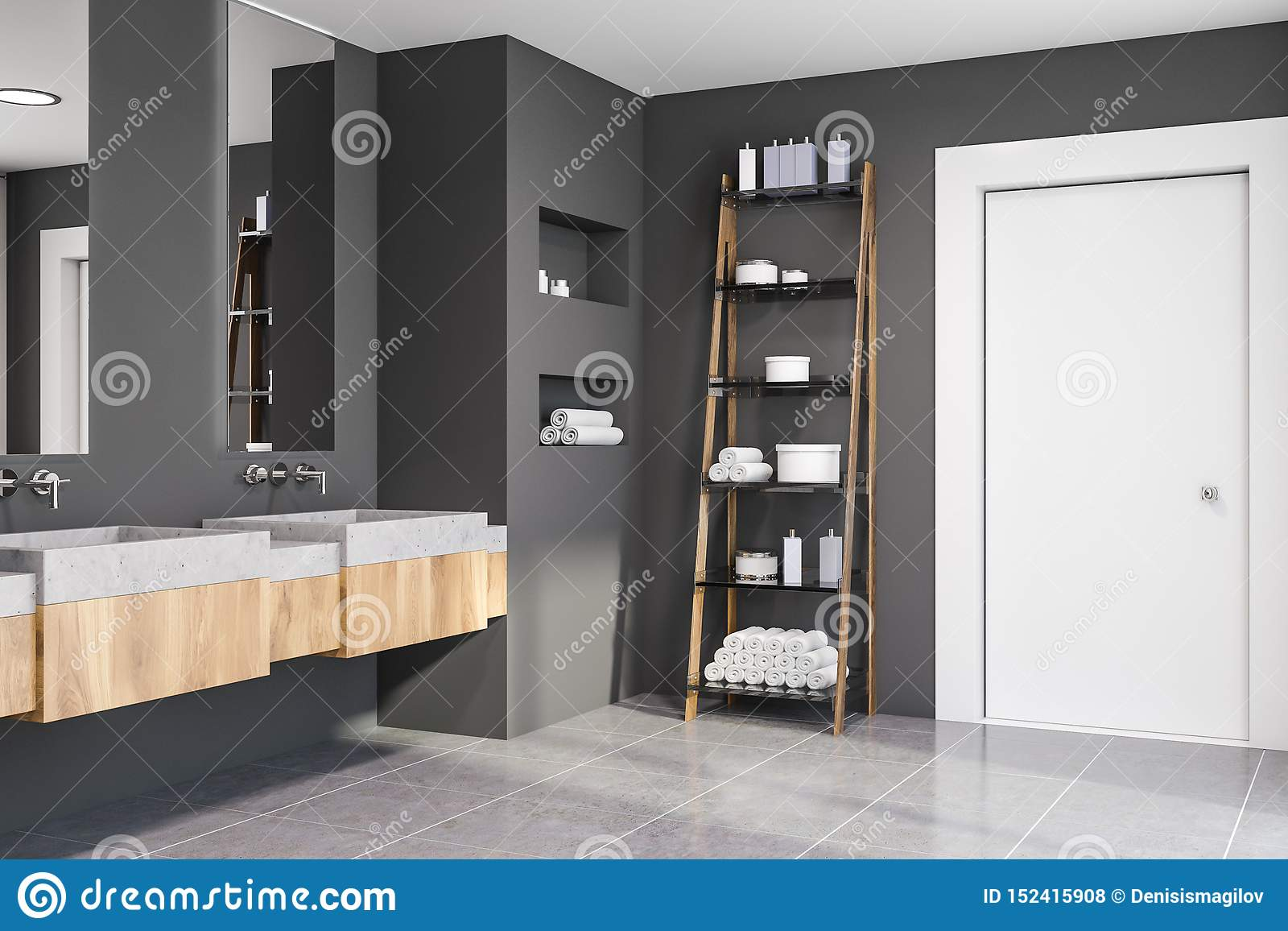 Corner Of Grey Bathroom Double Sink And Shelves Stock Illustration Illustration Of Empty Double 152415908