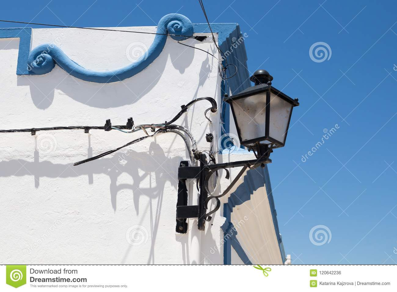 Corner Of A House With Lantern, Portugal Stock Photo - Image of ...