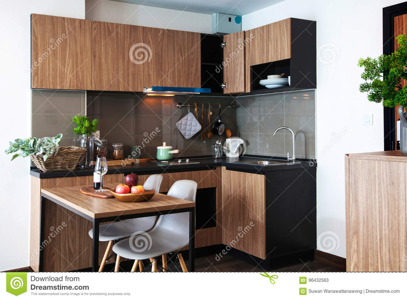 Corner Kitchen With Dining Table In Room Condominium Stock Image Image Of Interior House 96432563