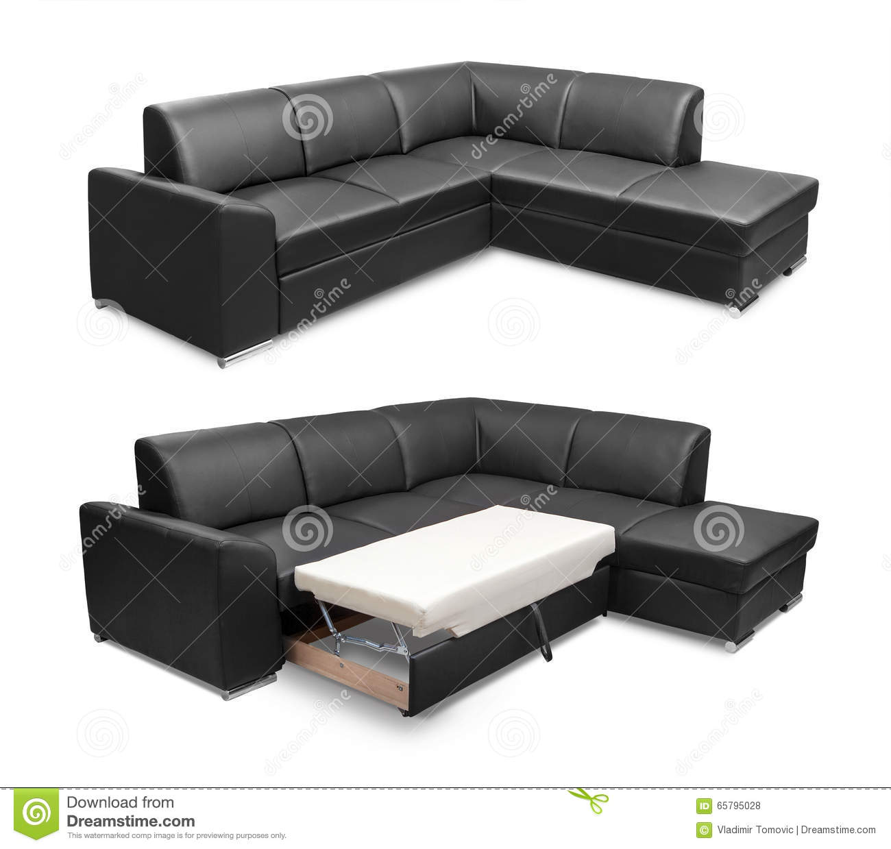 Download Corner Leather Sofa Set Isolated On White Background With Clipping  Path Stock Photo   Image