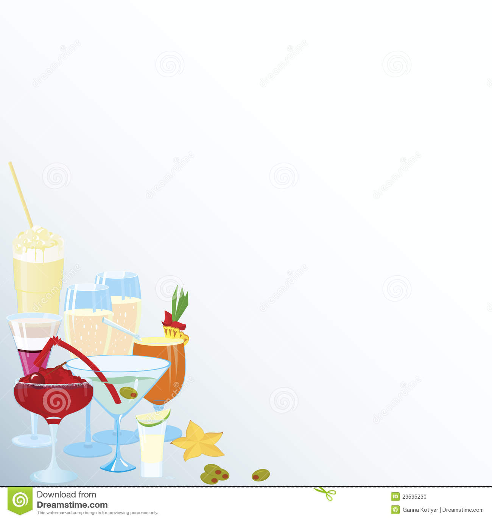 Corner Martini Cocktail Borders Stock Photo Image 23595230