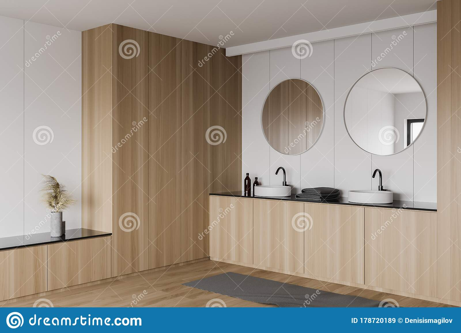 White And Wooden Bathroom Corner With Double Sink Stock Illustration Illustration Of Decoration Double 178720189