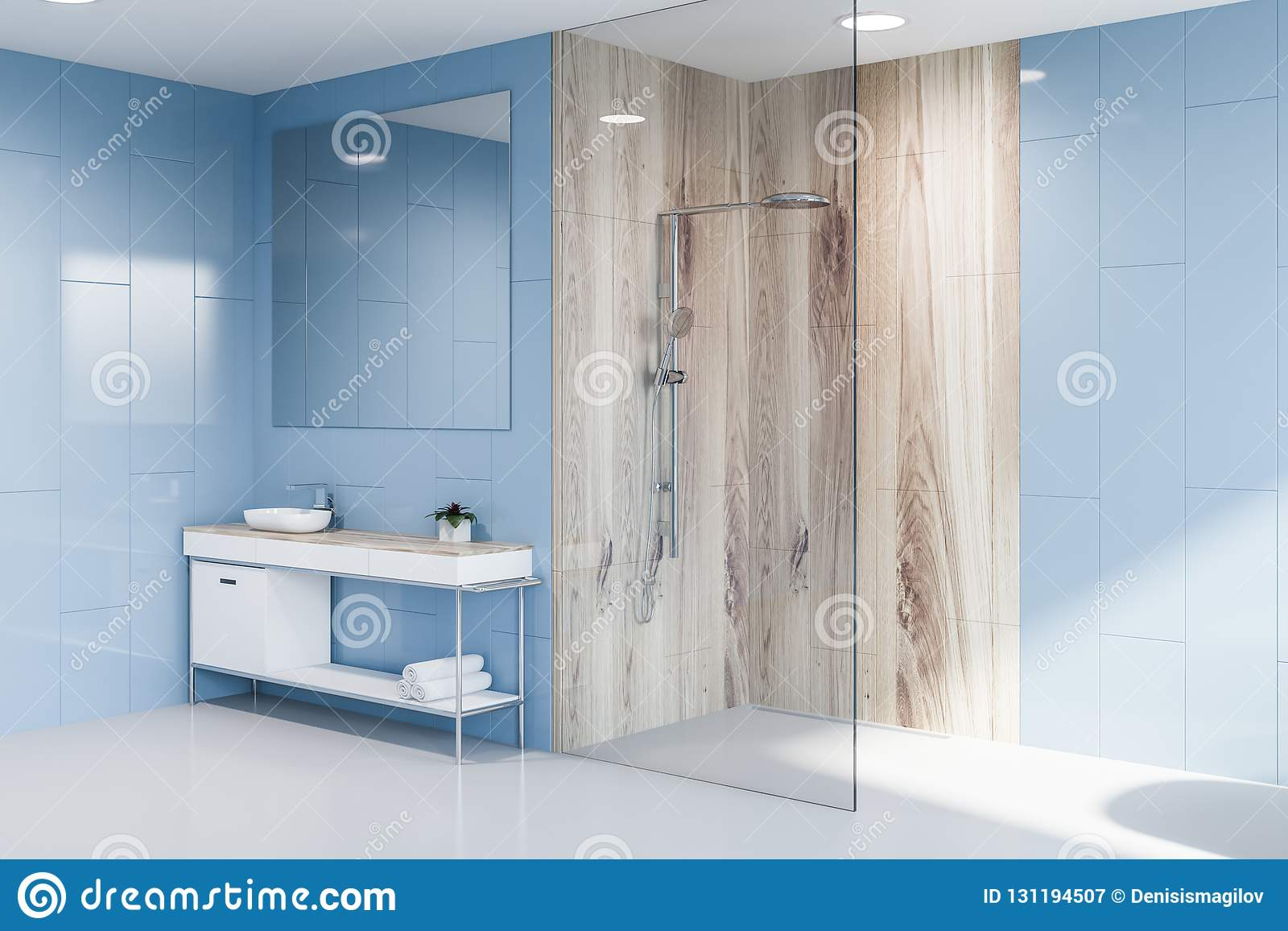 Corner Of Modern Bathroom With Blue Walls, White Floor, Glass And Wooden  Shower And White Sink Standing On White And Wooden Countertop With Big  Square ...