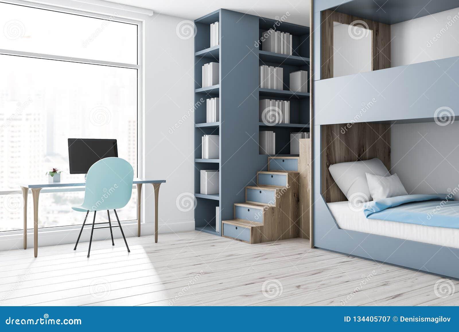 Picture of: Gray Bunk Bed Bedroom Corner Computer Desk Stock Illustration Illustration Of Nightstand Dormitory 134405707