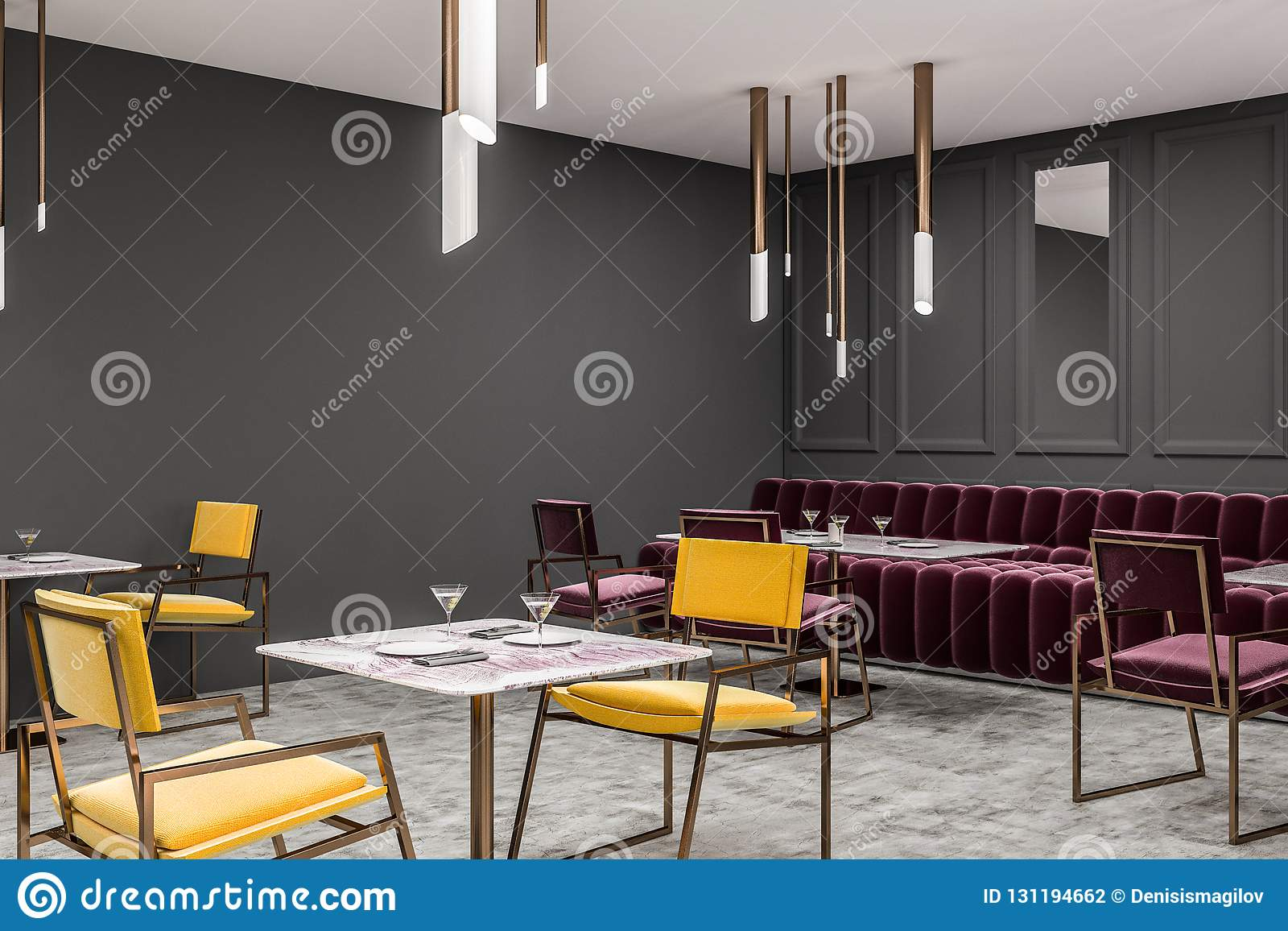 Gray Cafe Corner Red Sofa Yellow Chairs Stock Illustration Illustration Of Design Dining 131194662