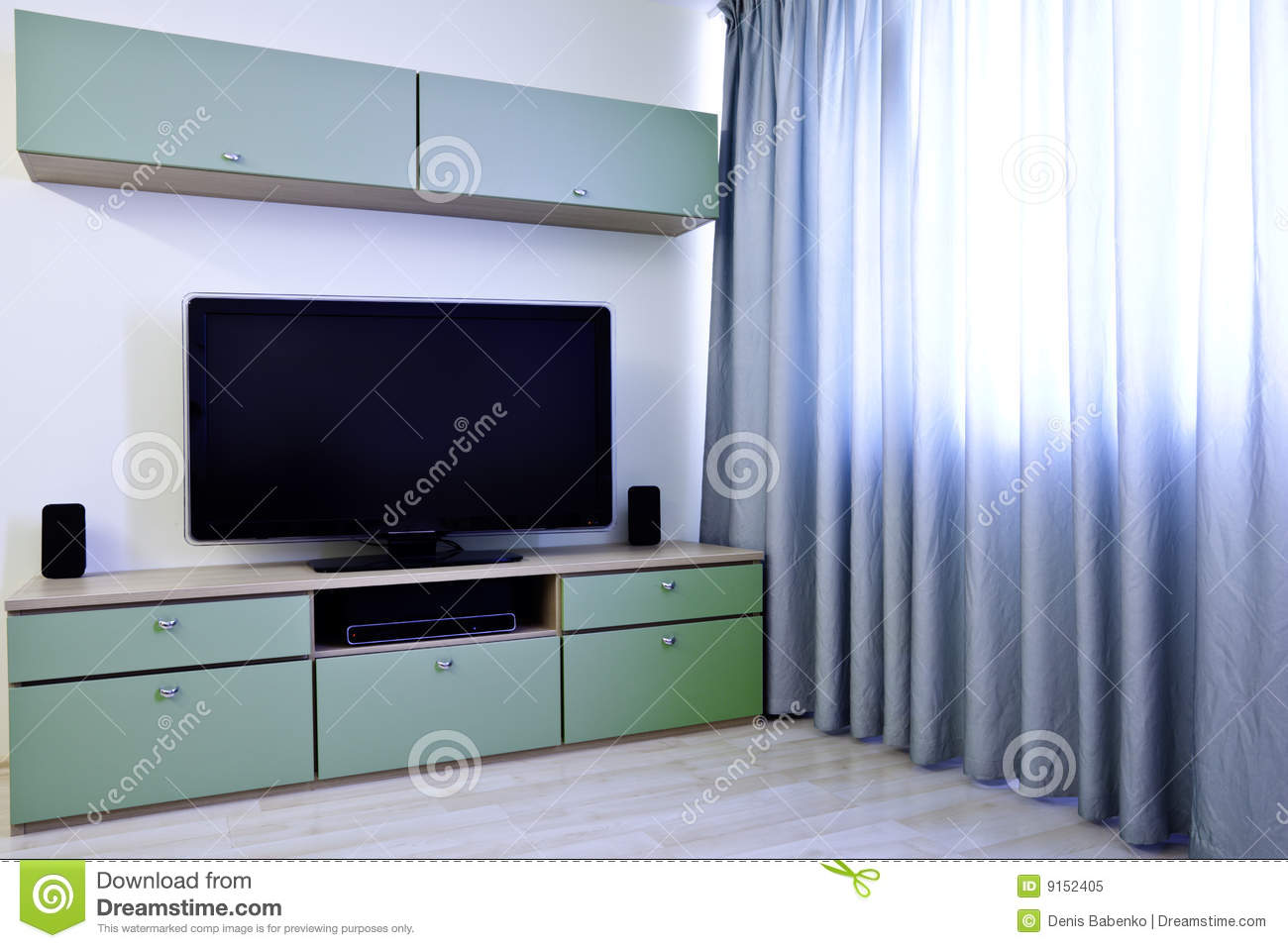 Download Corner In Modern Room With TV Stock Image - Image of inside, eception: 9152405