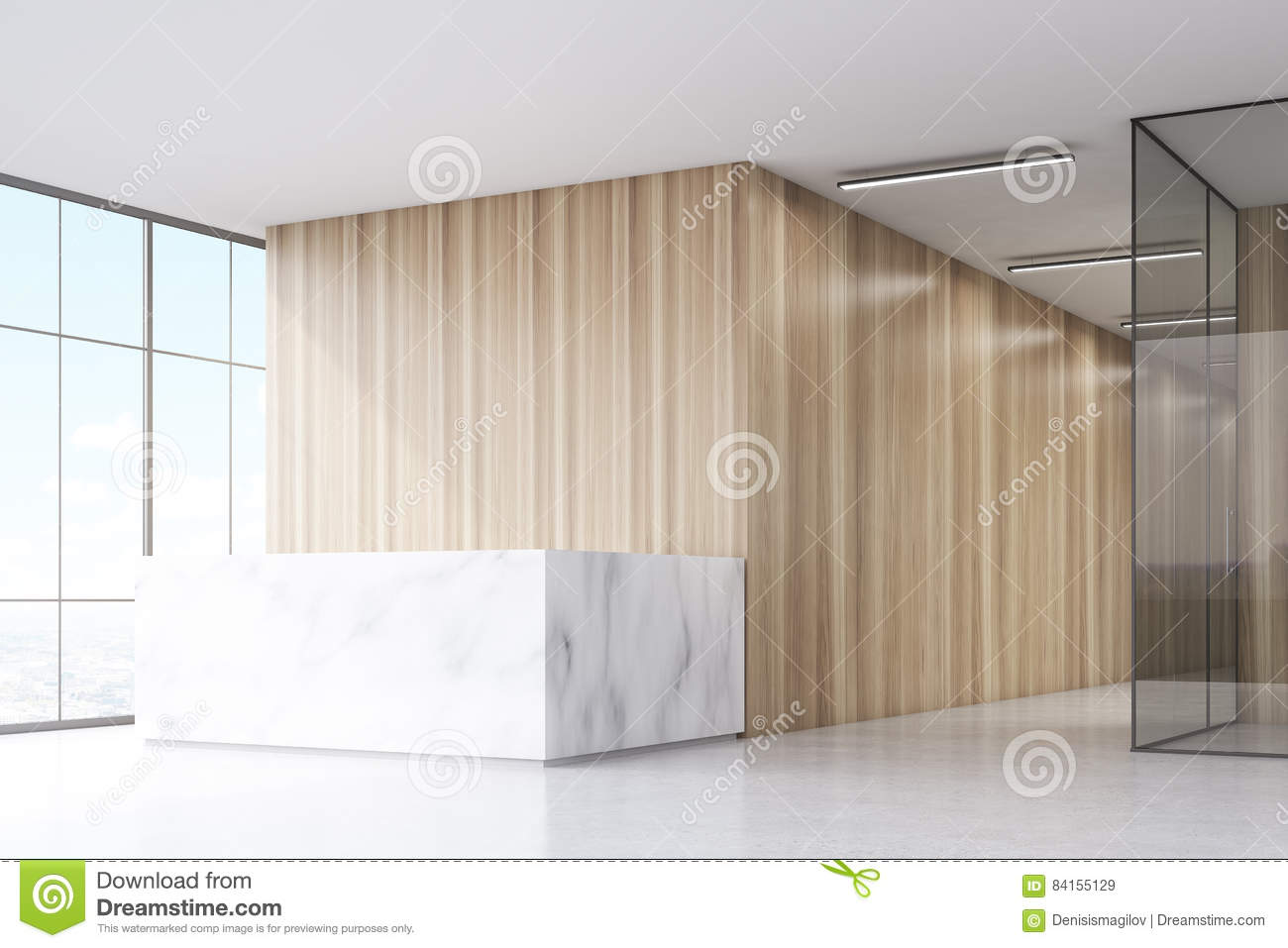 Office Entrance Area With Reception Counter Stock Photo