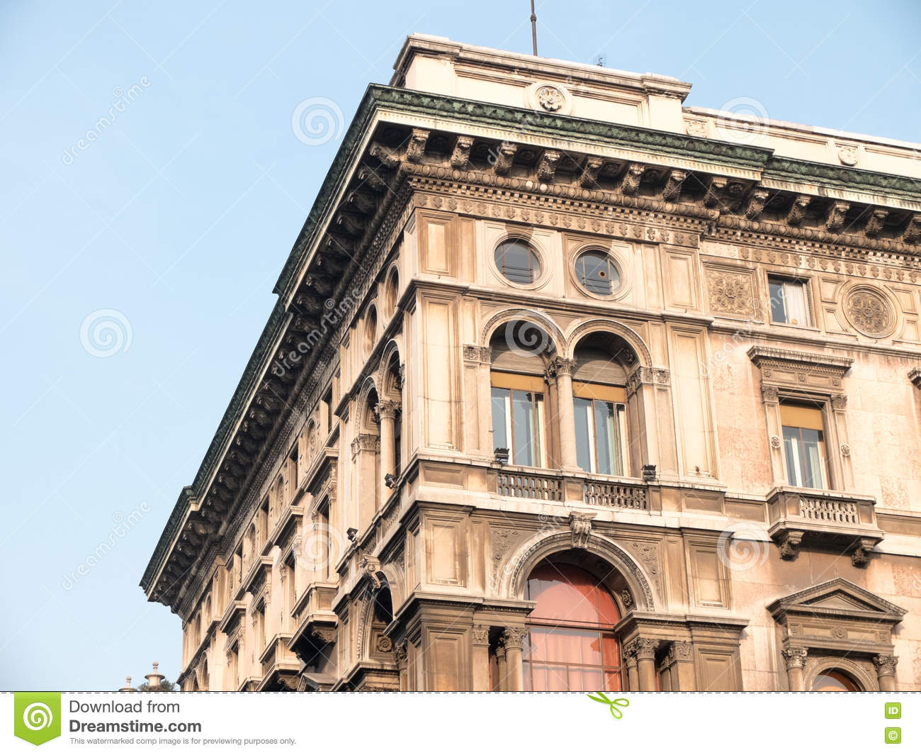 Corner Of Old Building With Rooftop Cornice Stock Photo