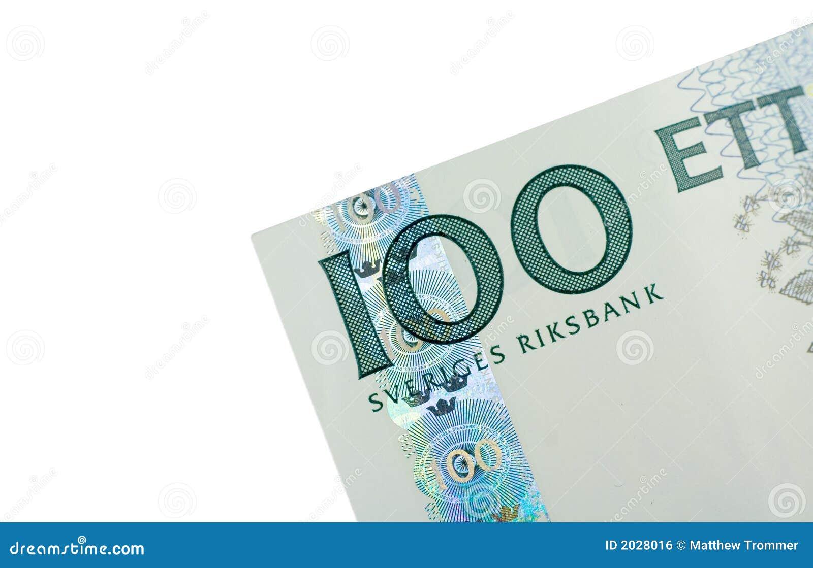 Corner of One Hundred Swedish Kronor banknote