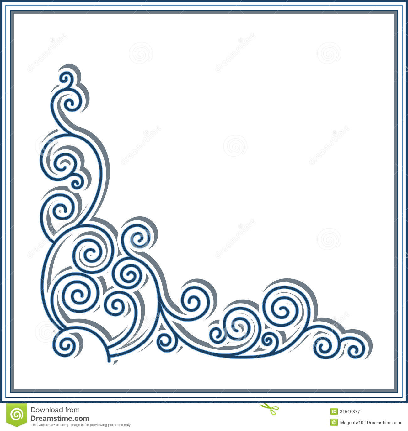 Corner ornament stock vector image of marine paper for Paper swirl decorations